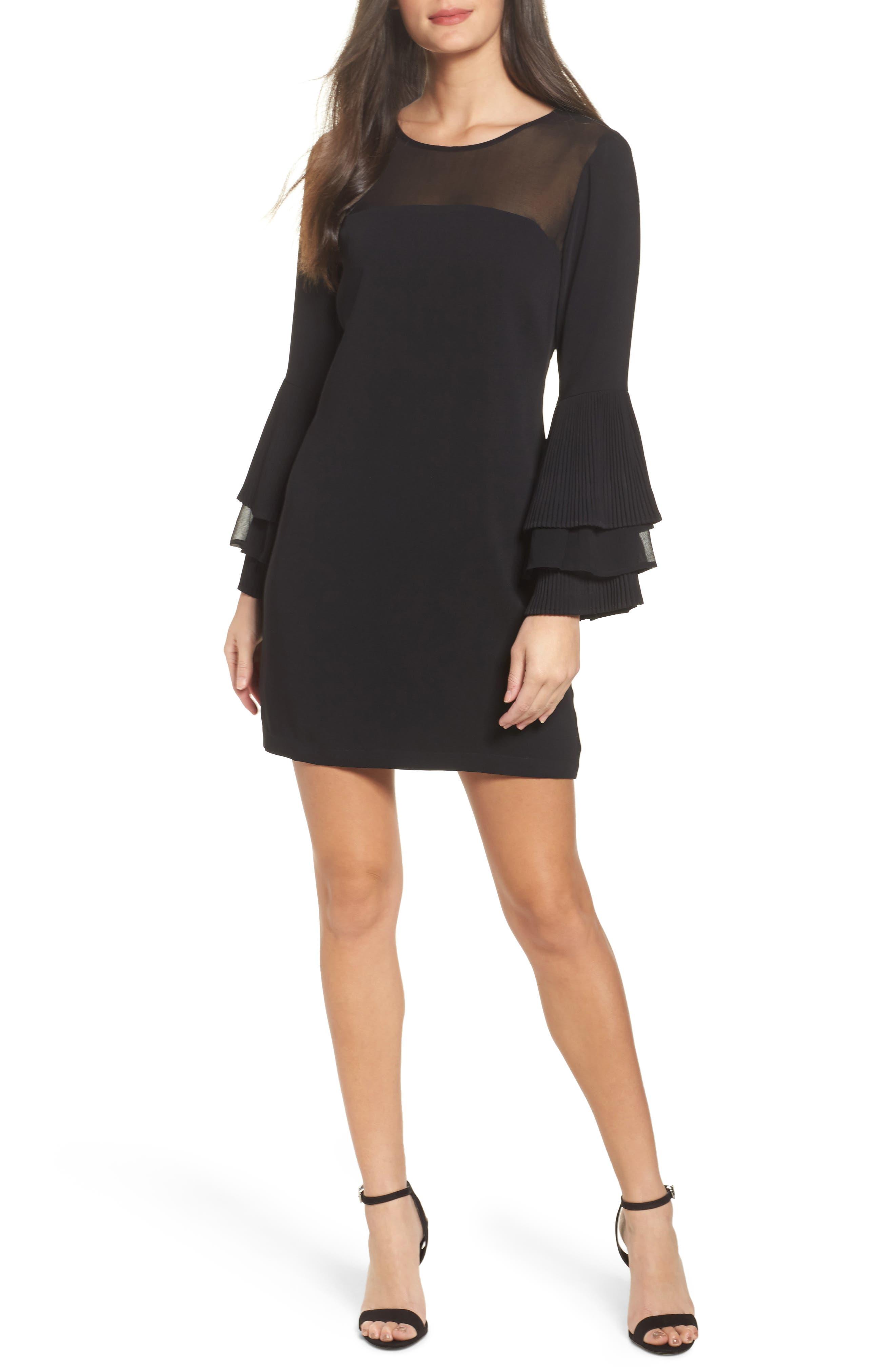 Raissa Bell Sleeve Shift Dress,                         Main,                         color, Black