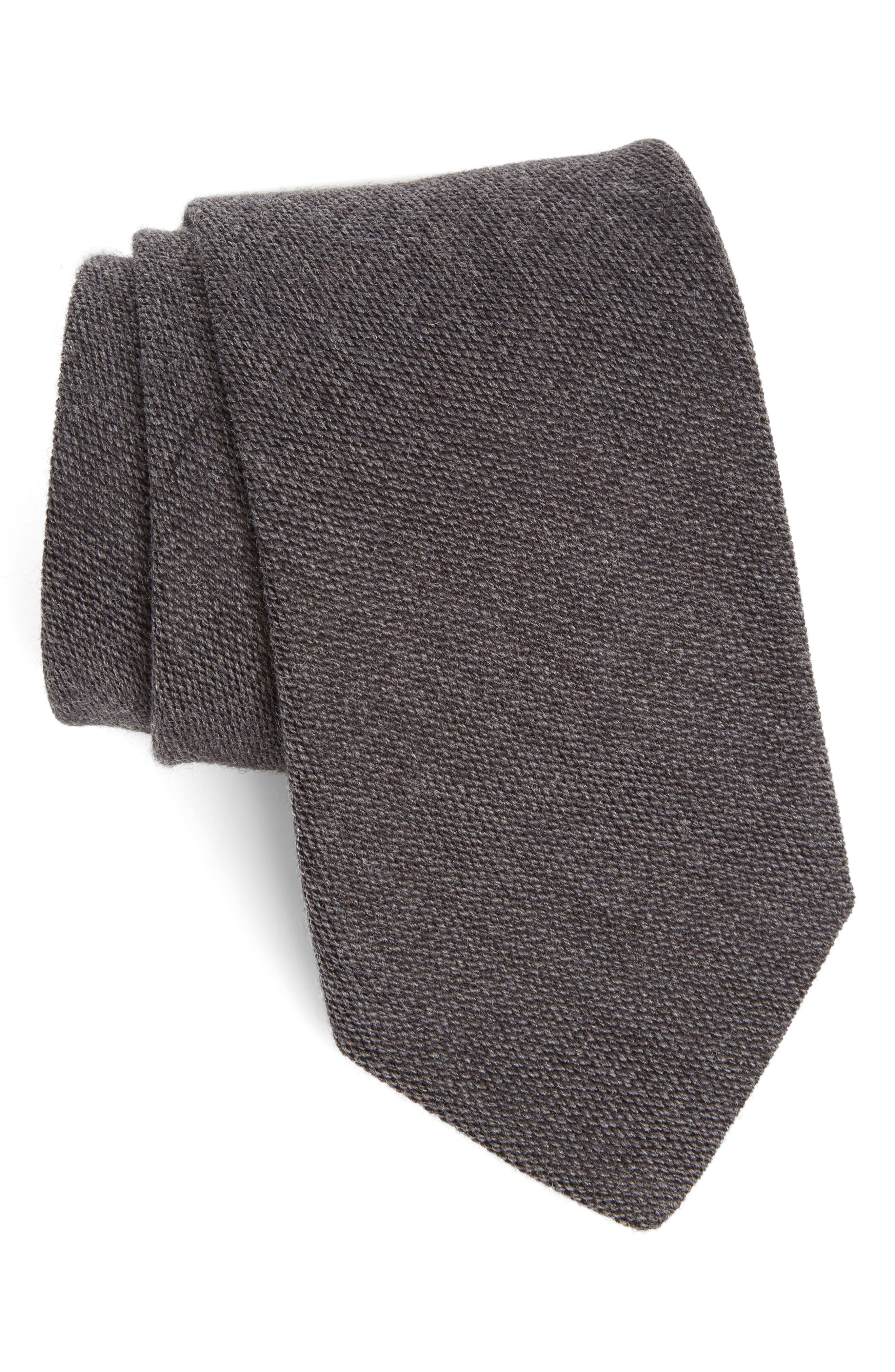 Solid Mélange Silk & Wool Tie,                         Main,                         color, Navy