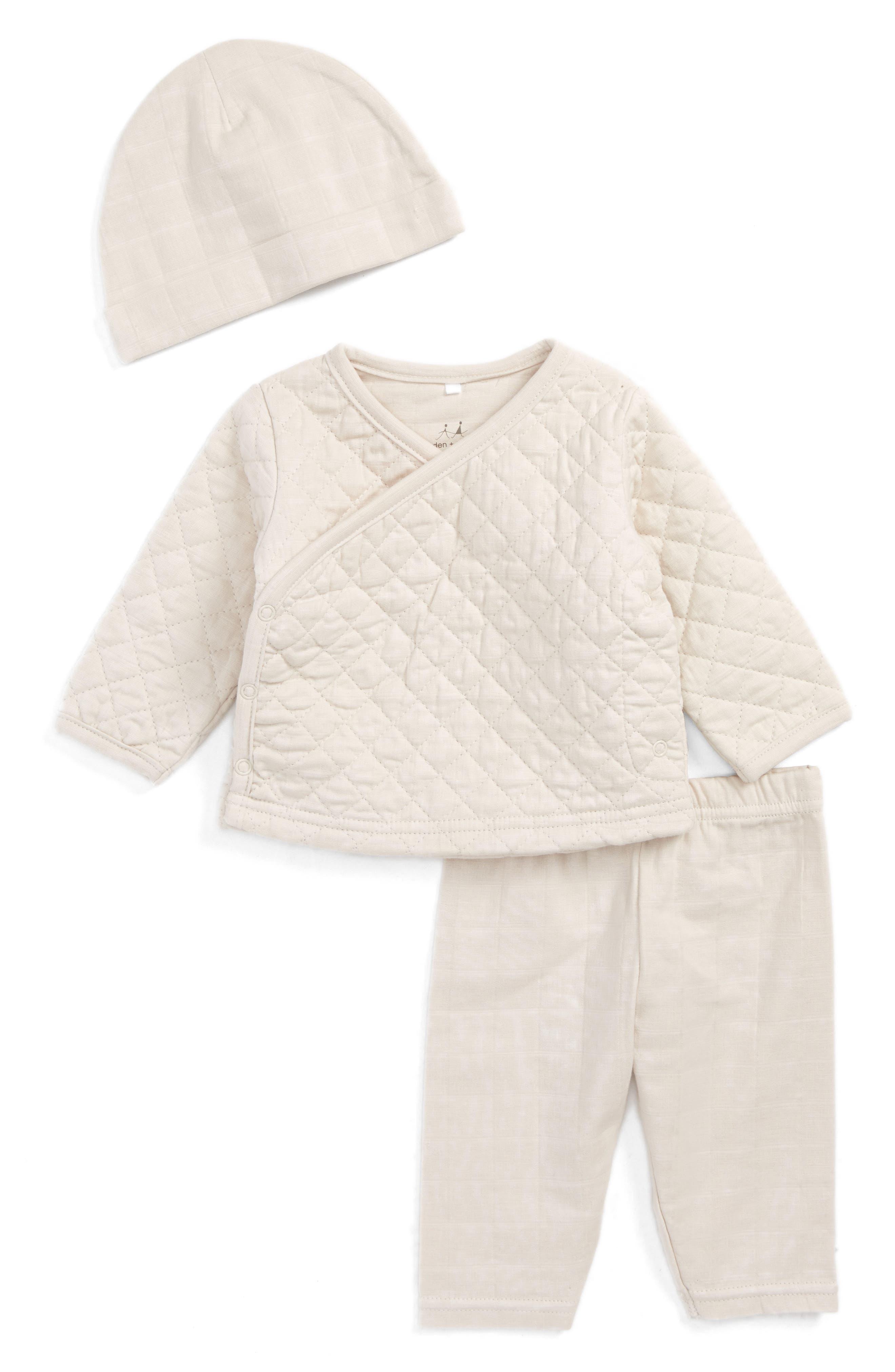 Main Image - aden + anais Top, Pants & Hat Set (Baby)