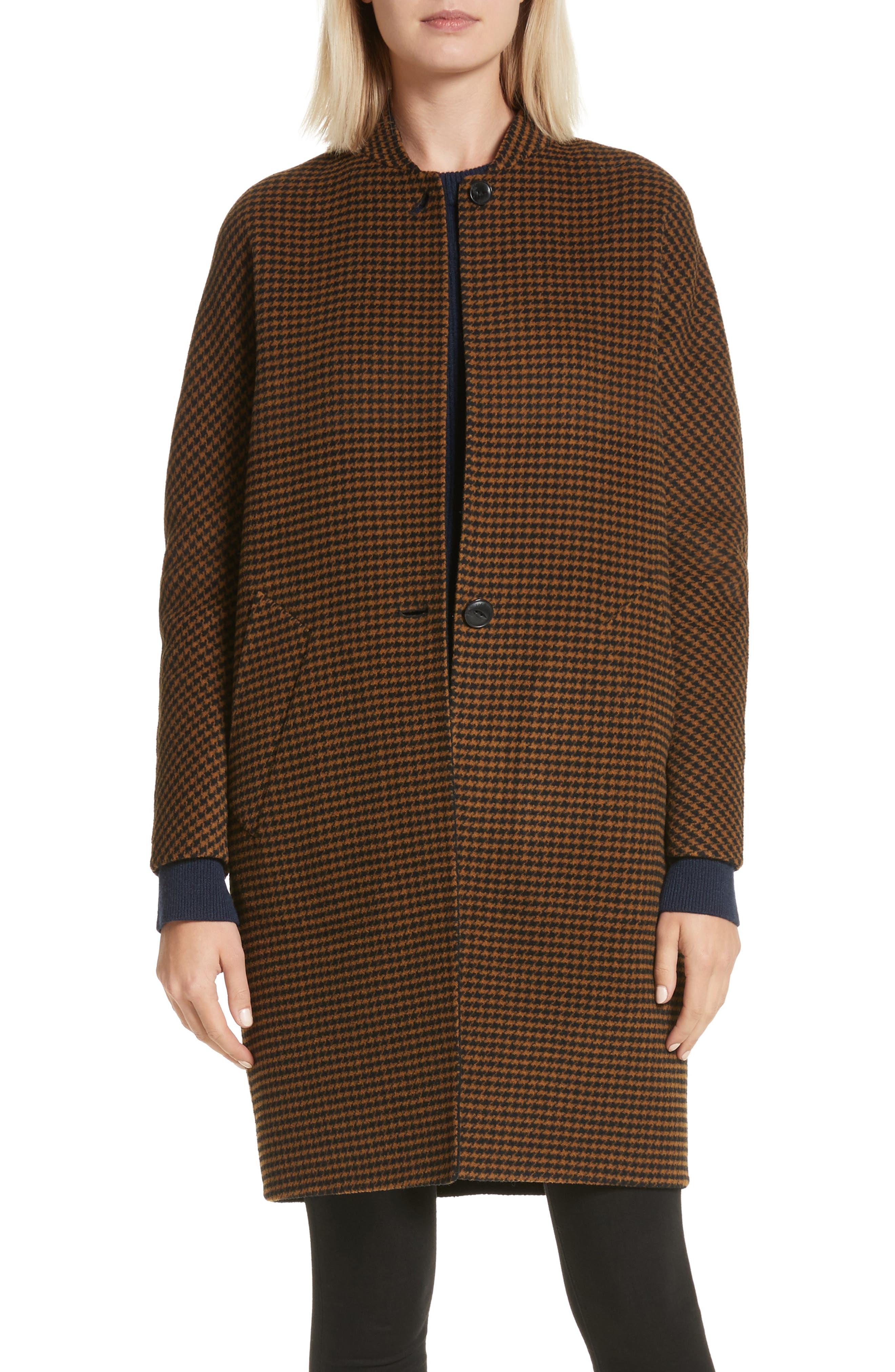 Darwen Reversible Wool & Cashmere Coat,                             Main thumbnail 1, color,                             Brown/Black