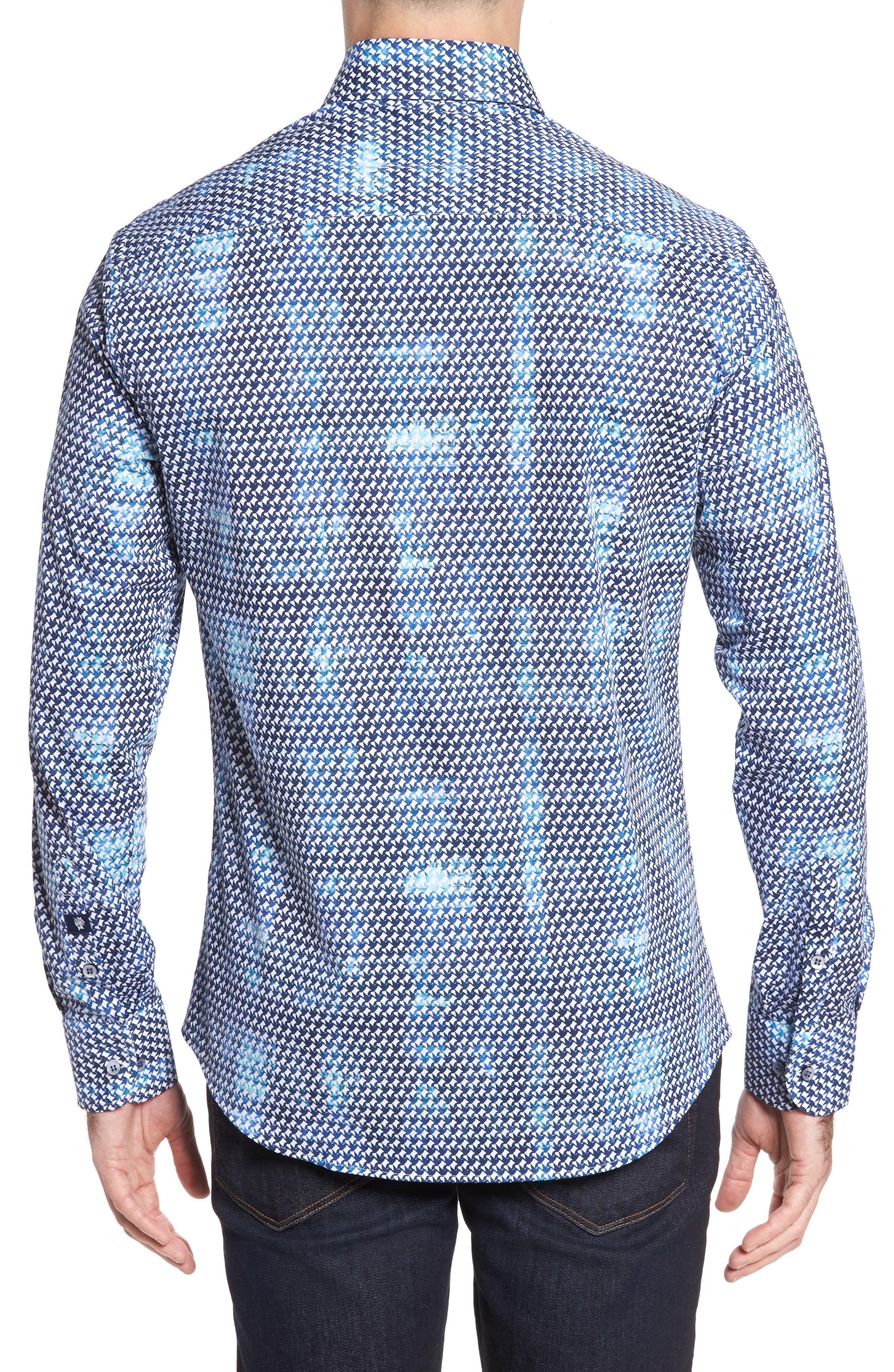 Slim Fit Origami FX Print Sport Shirt,                             Alternate thumbnail 2, color,                             Blue