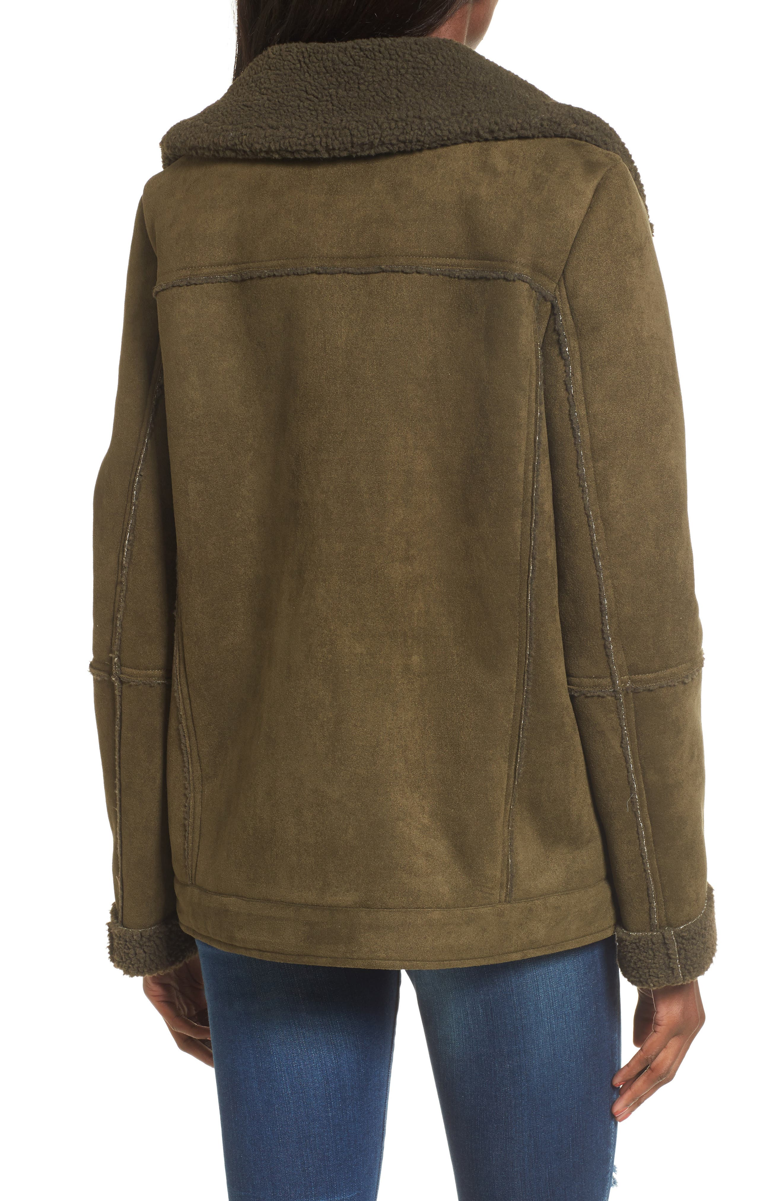 Dallas Faux Shearling Jacket,                             Alternate thumbnail 4, color,                             Olive
