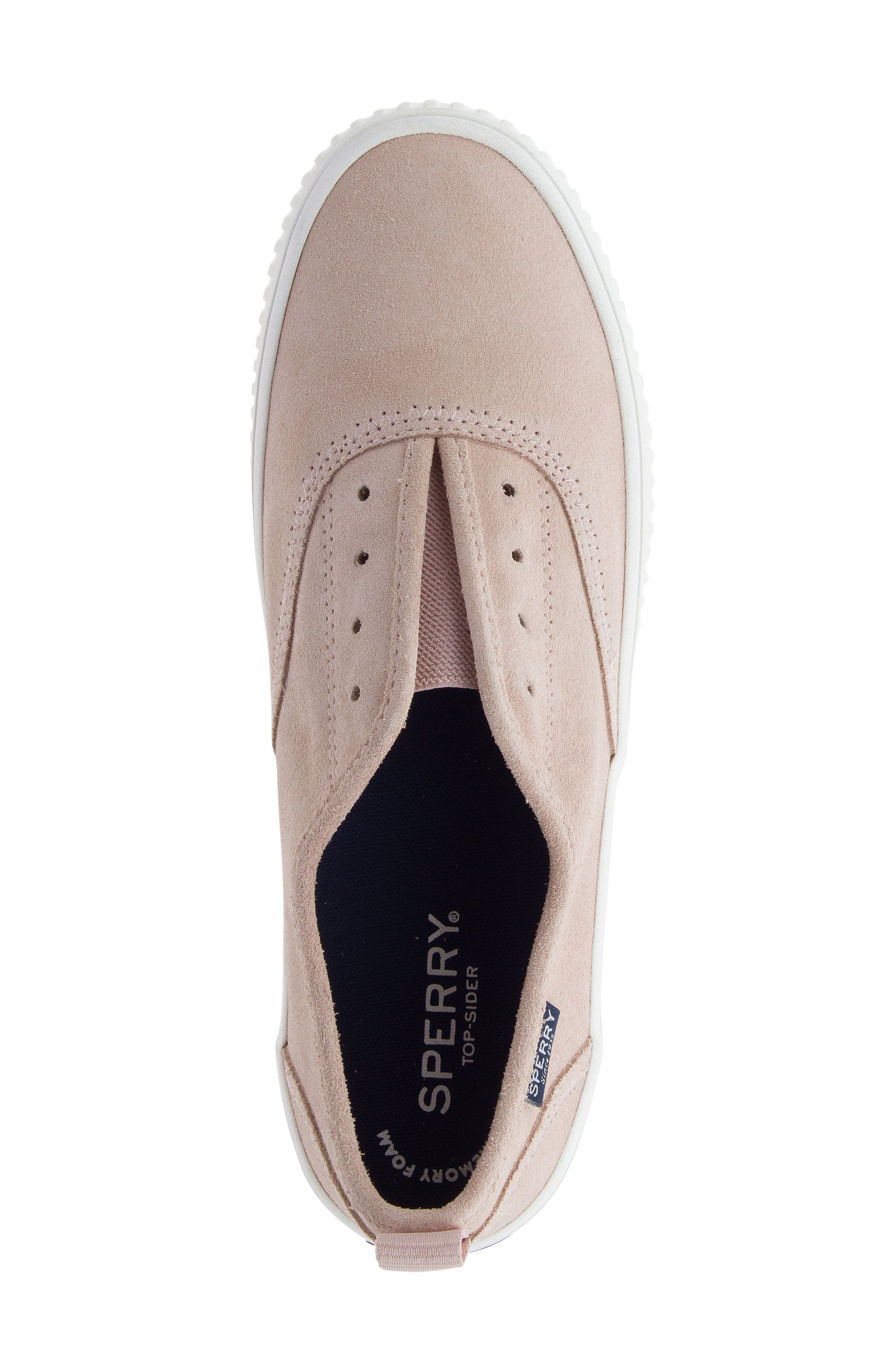 Crest Creeper Slip-On Sneaker,                             Alternate thumbnail 5, color,                             Rose Dust Suede