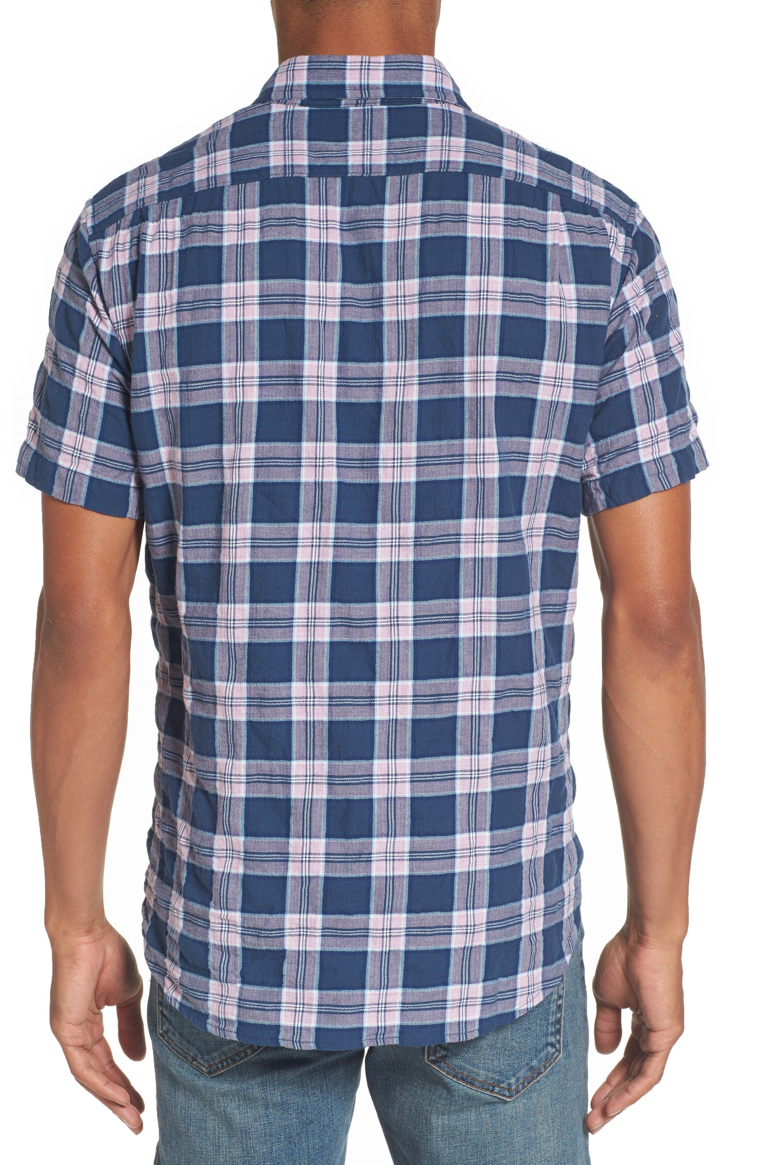 Riviera Slim Fit Plaid Woven Shirt,                             Alternate thumbnail 2, color,                             Crinkle Blue Pine Plaid