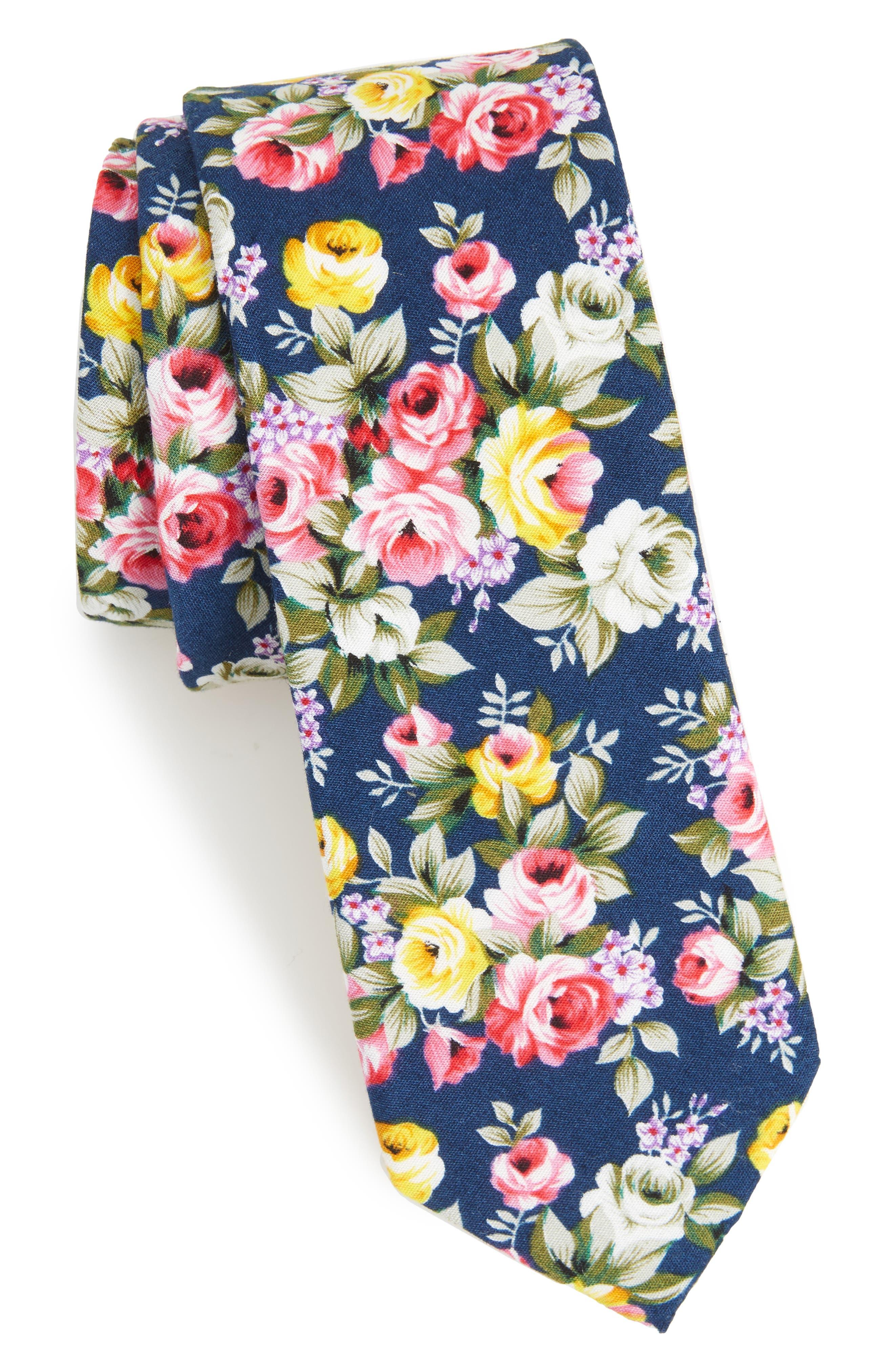 1901 Jodie Floral Cotton Skinny Tie