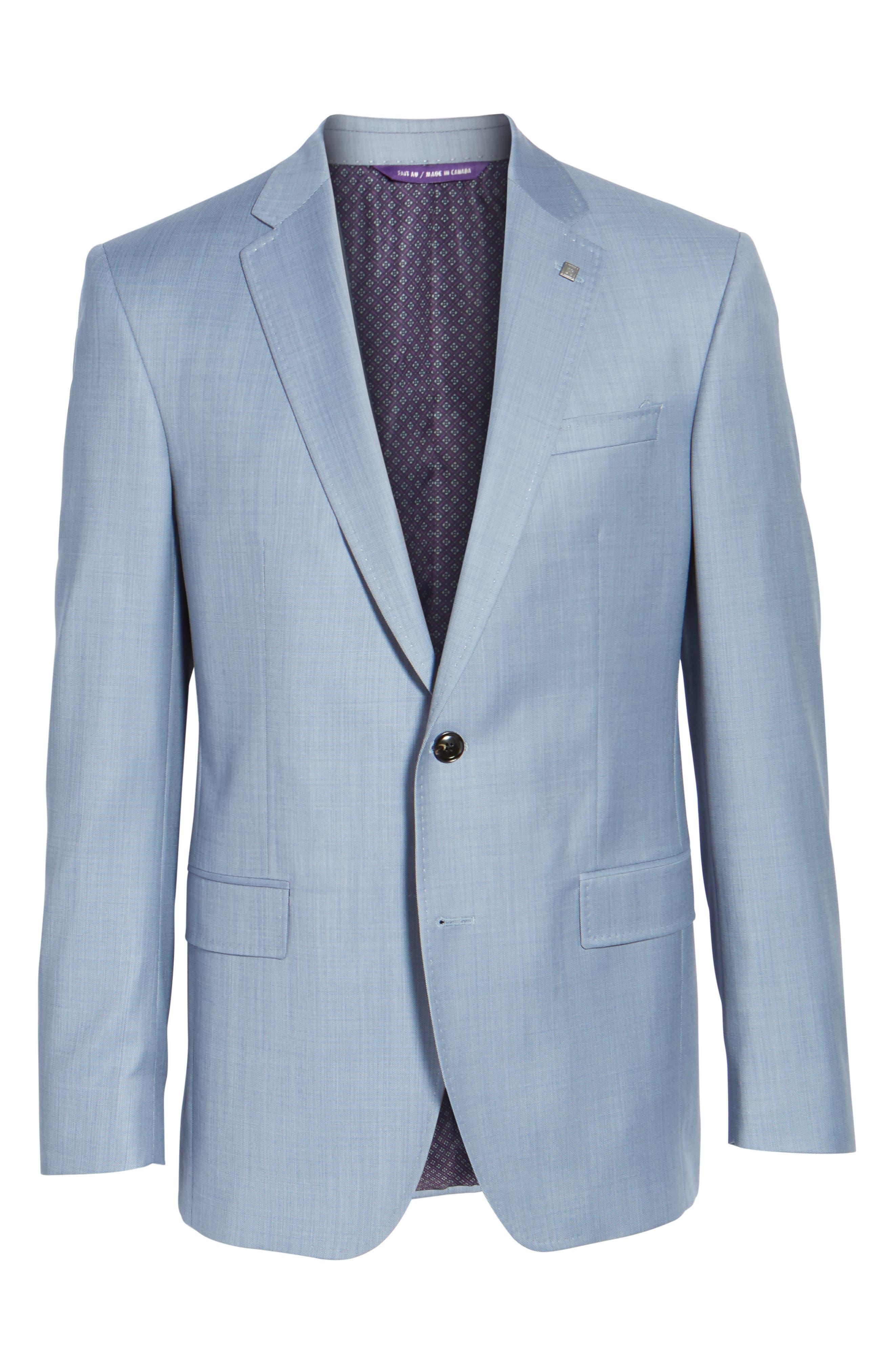 Trim Fit Solid Wool Suit,                             Alternate thumbnail 7, color,                             Light Blue