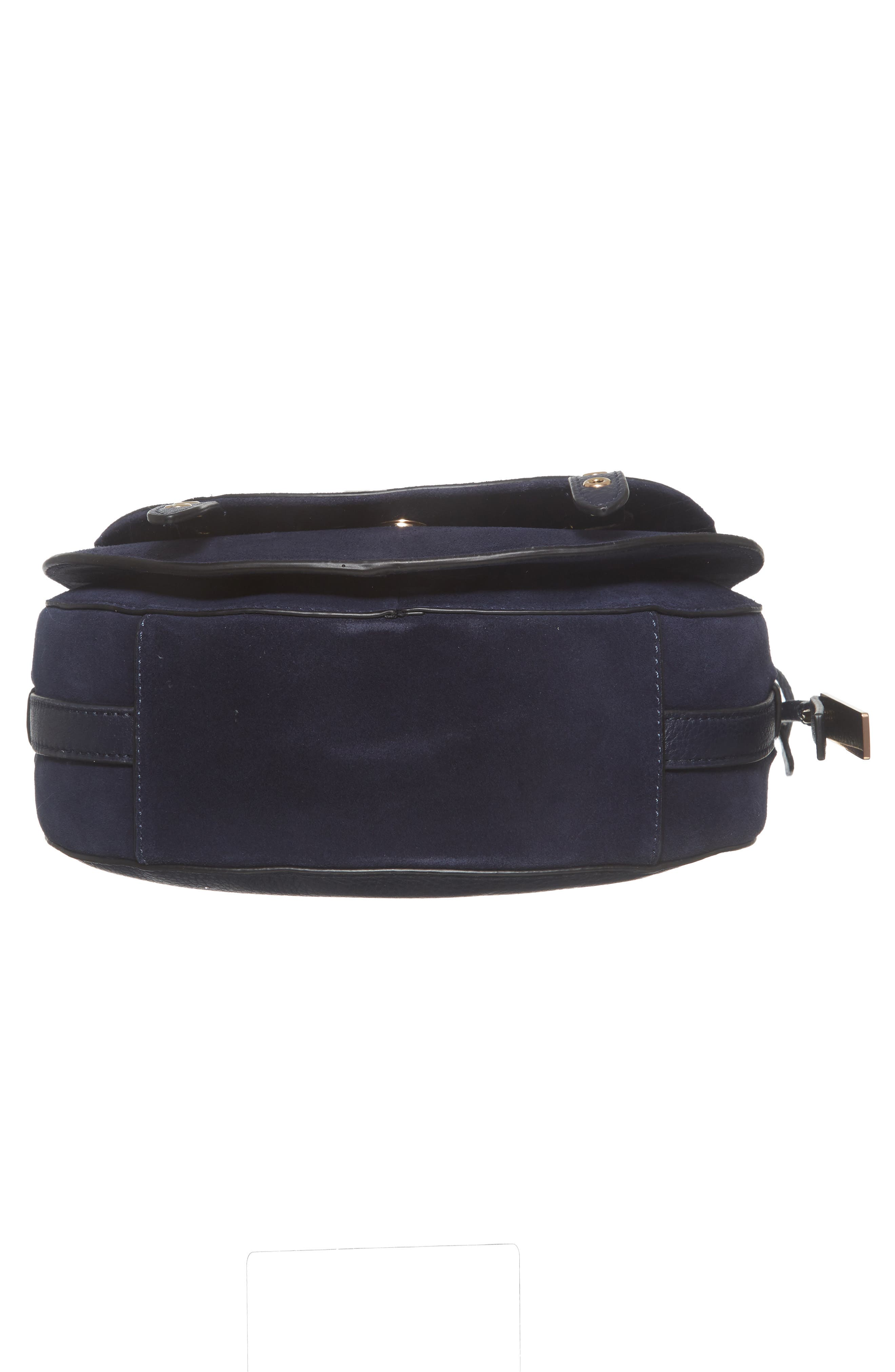 Areli Suede & Leather Crossbody Saddle Bag,                             Alternate thumbnail 6, color,                             Winter Navy
