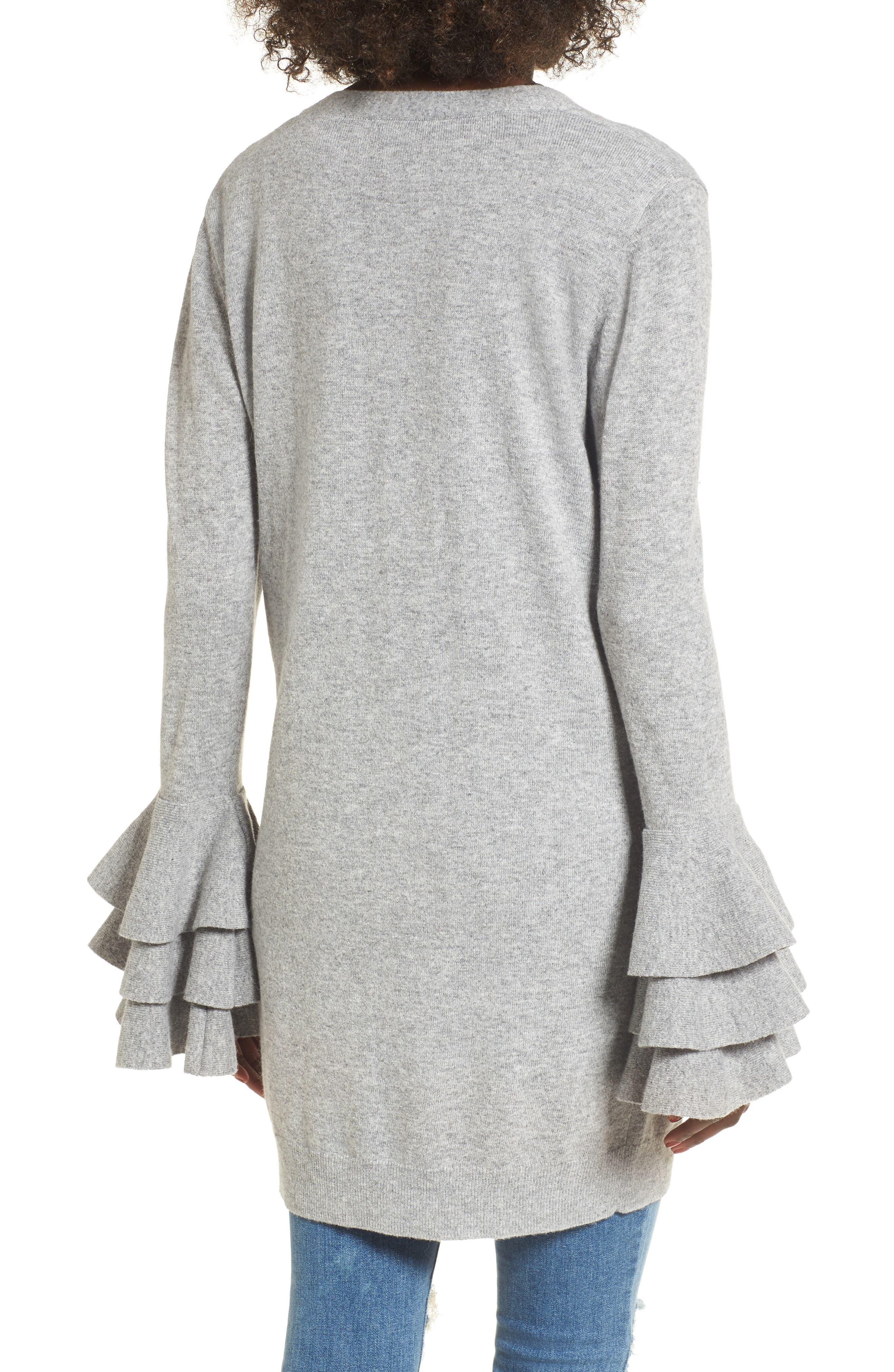 Ruffle Sleeve Longline Cardigan,                             Alternate thumbnail 2, color,                             Grey