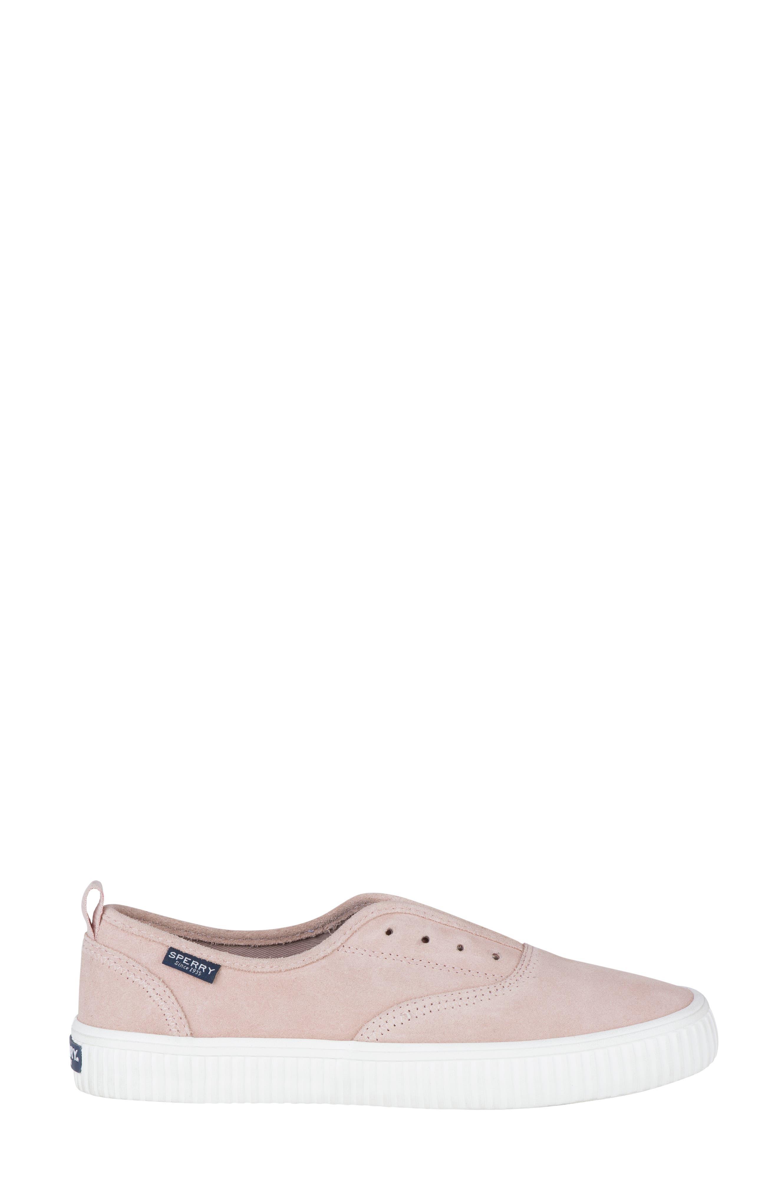 Crest Creeper Slip-On Sneaker,                             Alternate thumbnail 4, color,                             Rose Dust Suede