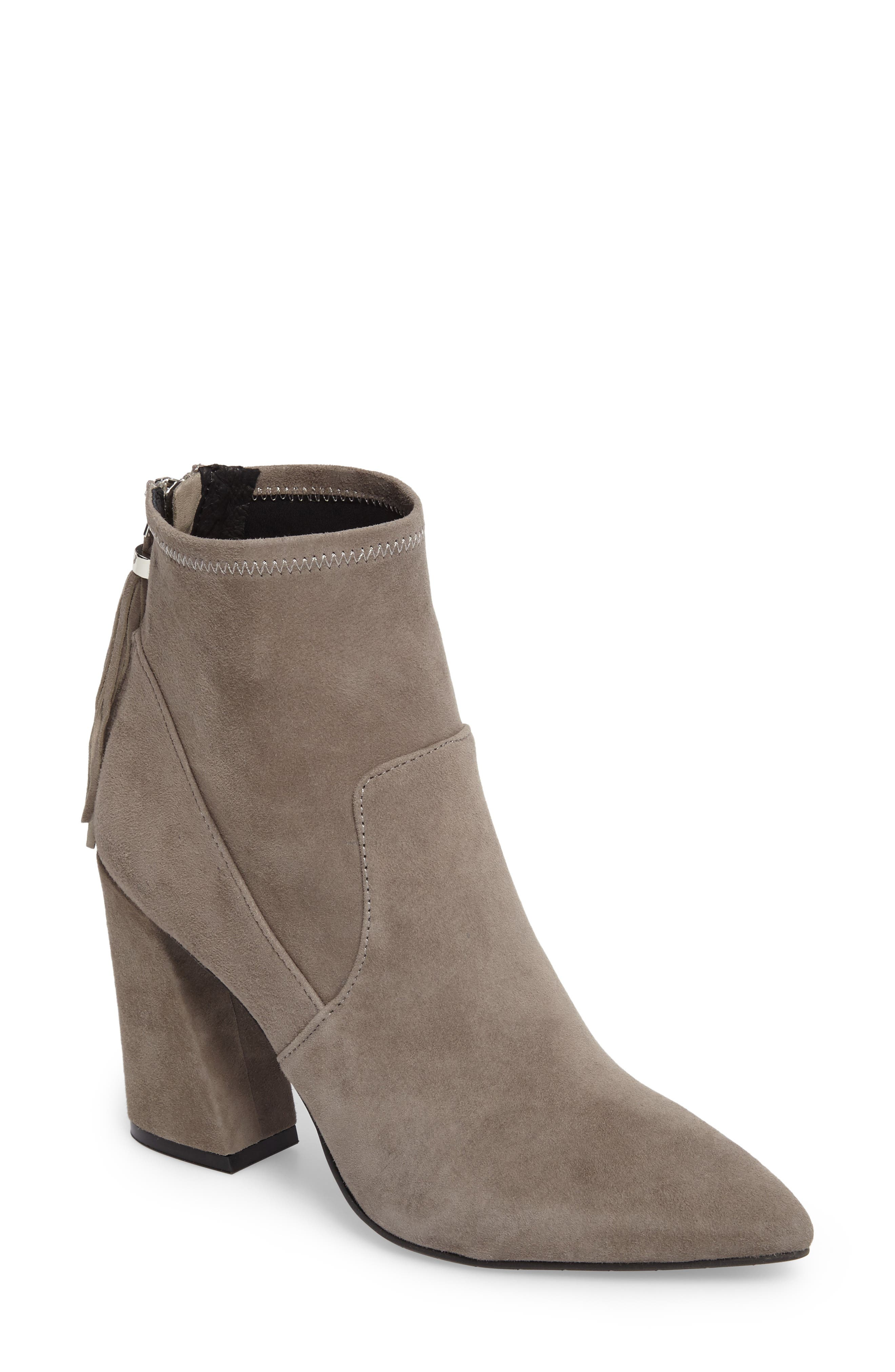 Gracelyn Pointy Toe Bootie,                             Main thumbnail 1, color,                             Elephant Suede