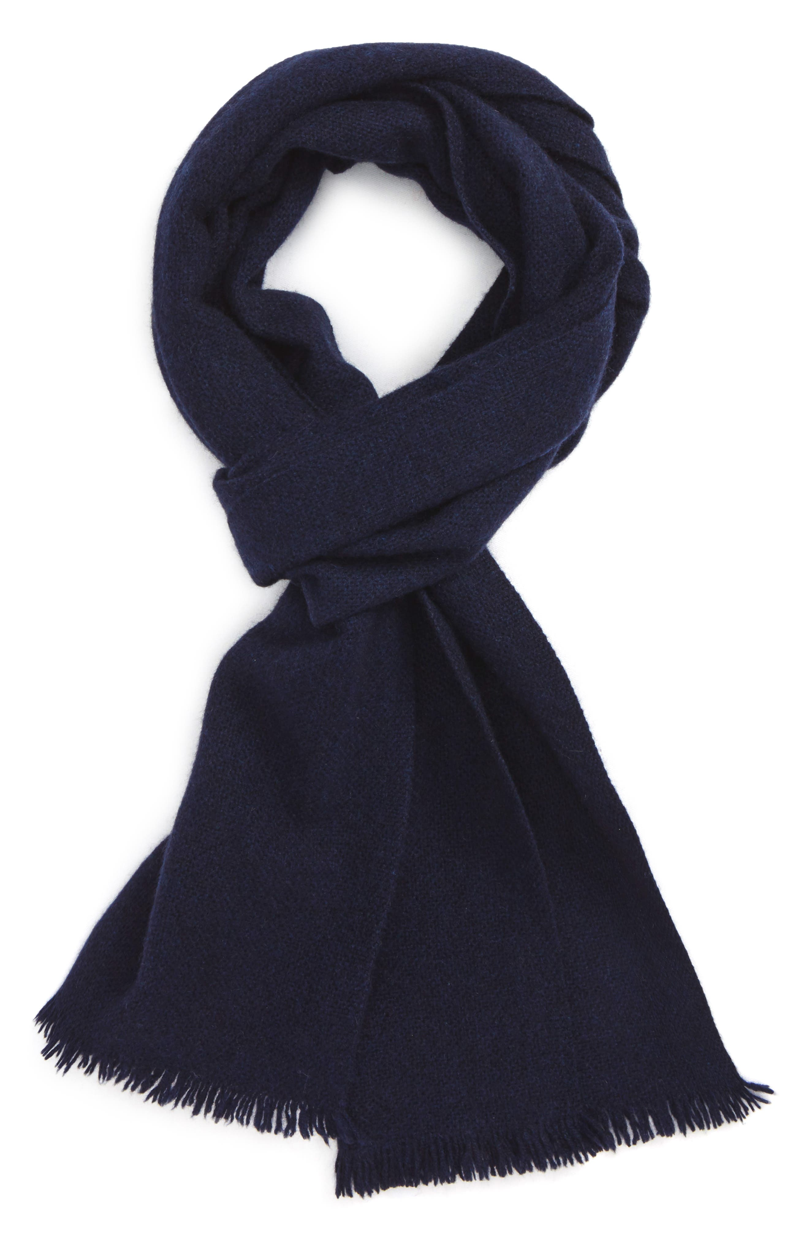 Solid Cashmere Scarf,                         Main,                         color, Navy Midnight