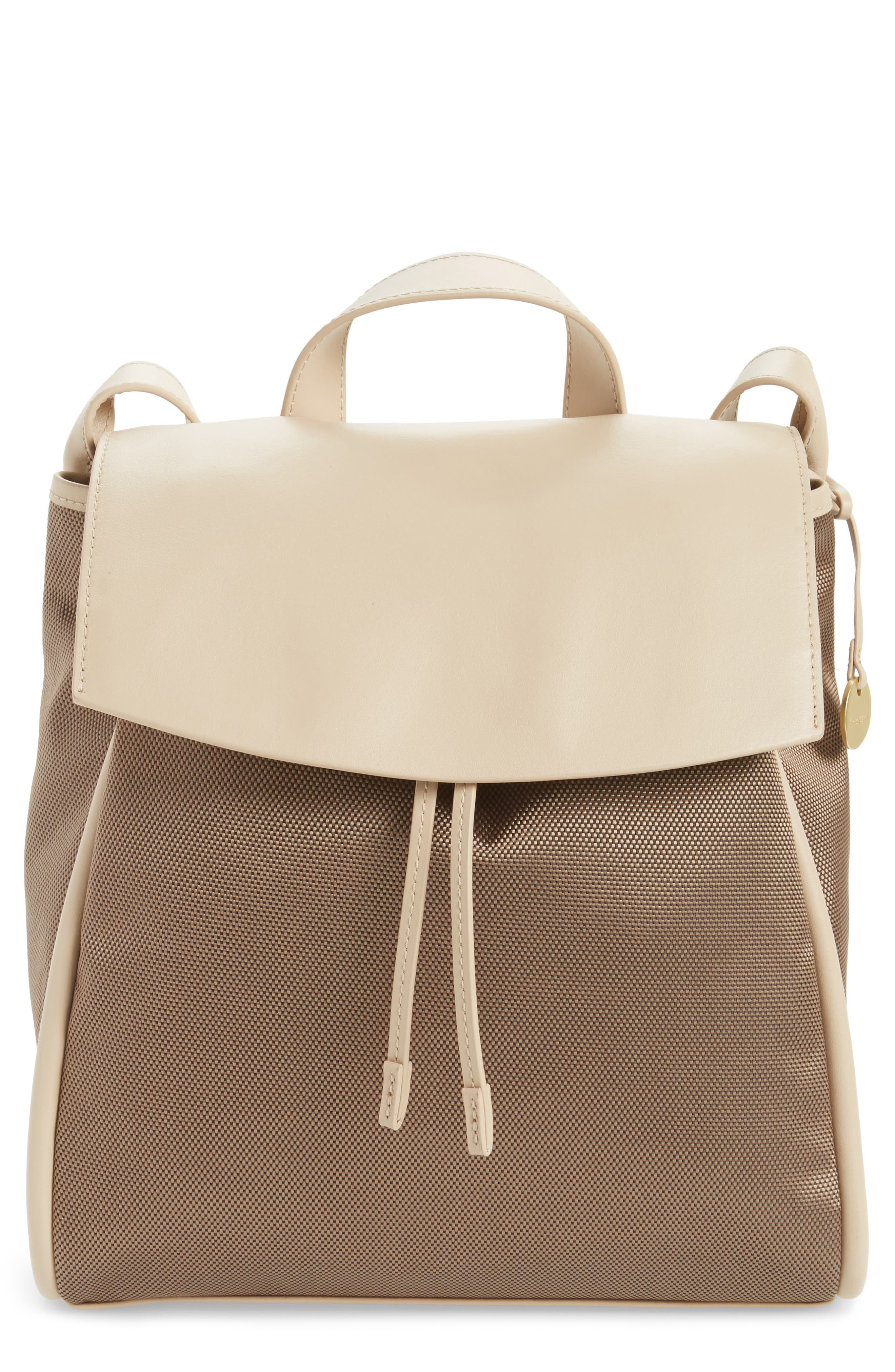 Ebba Leather & Canvas Backpack,                         Main,                         color, Dark Khaki