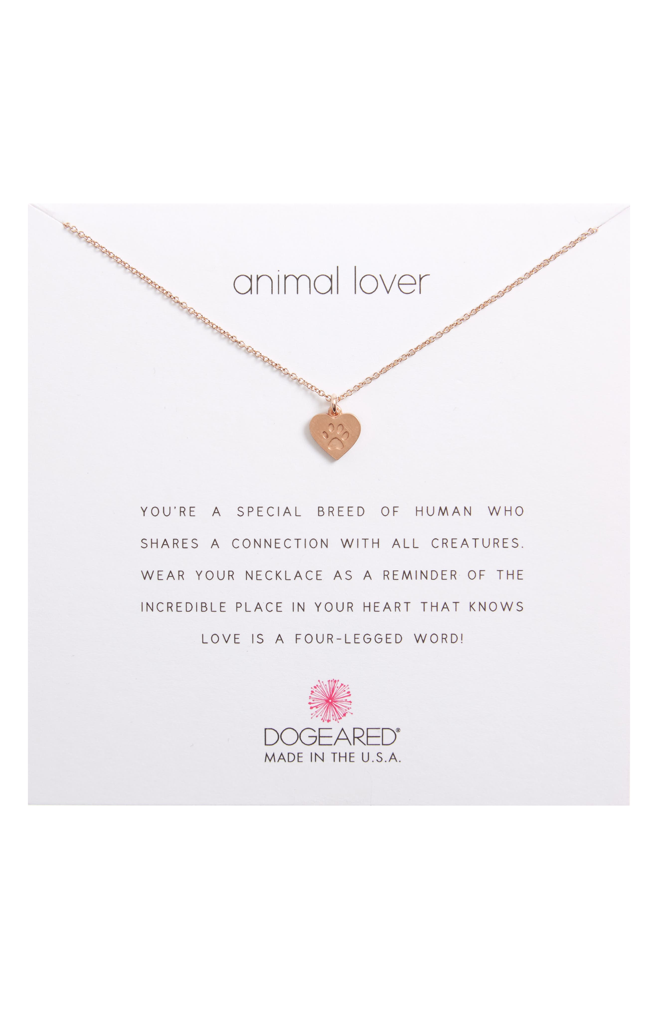 Animal Lover Best Friends Paw Charm Pendant Necklace,                             Main thumbnail 1, color,                             Rose Gold