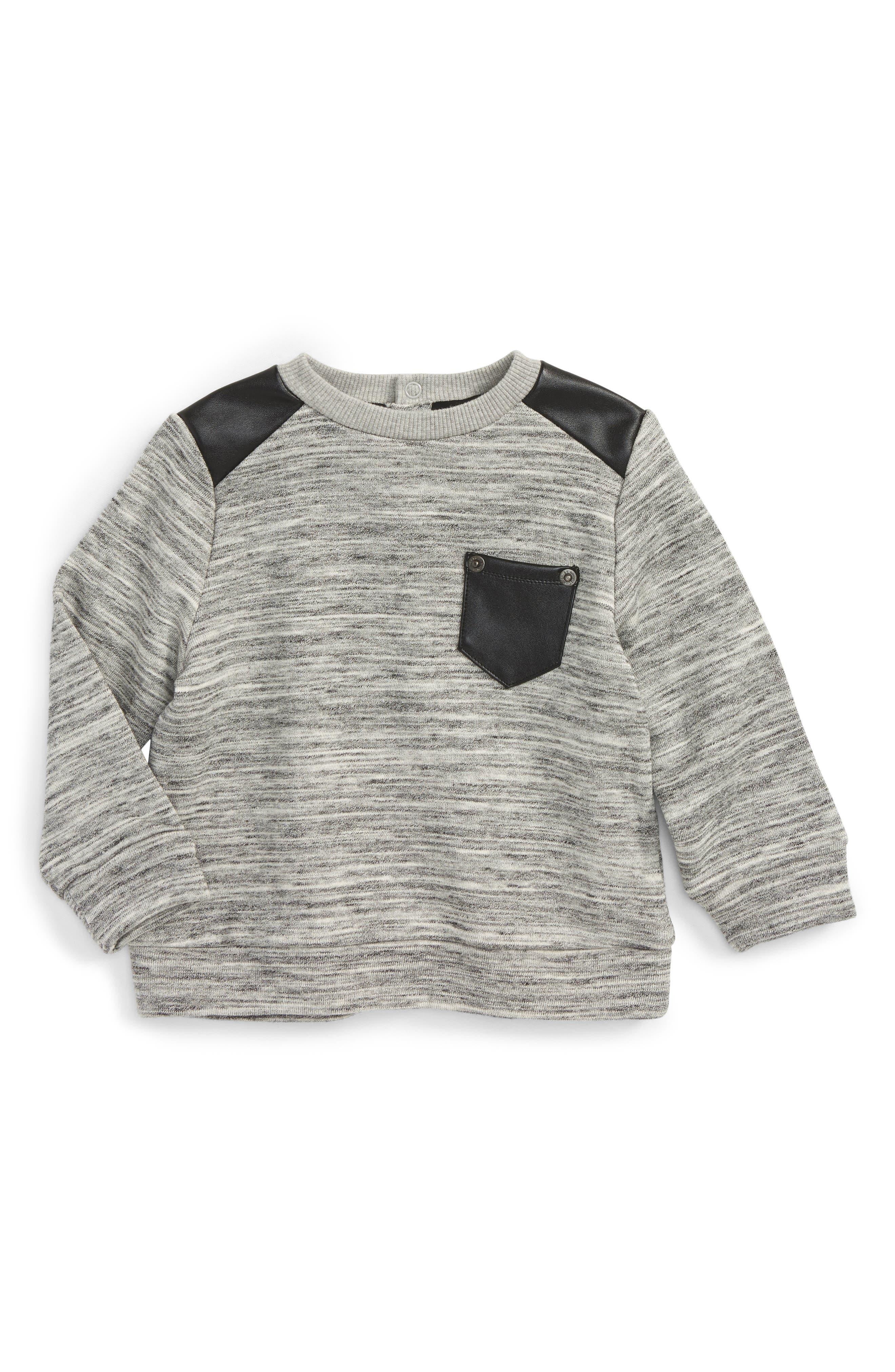 Moto Sweater,                             Main thumbnail 1, color,                             Grey Marle