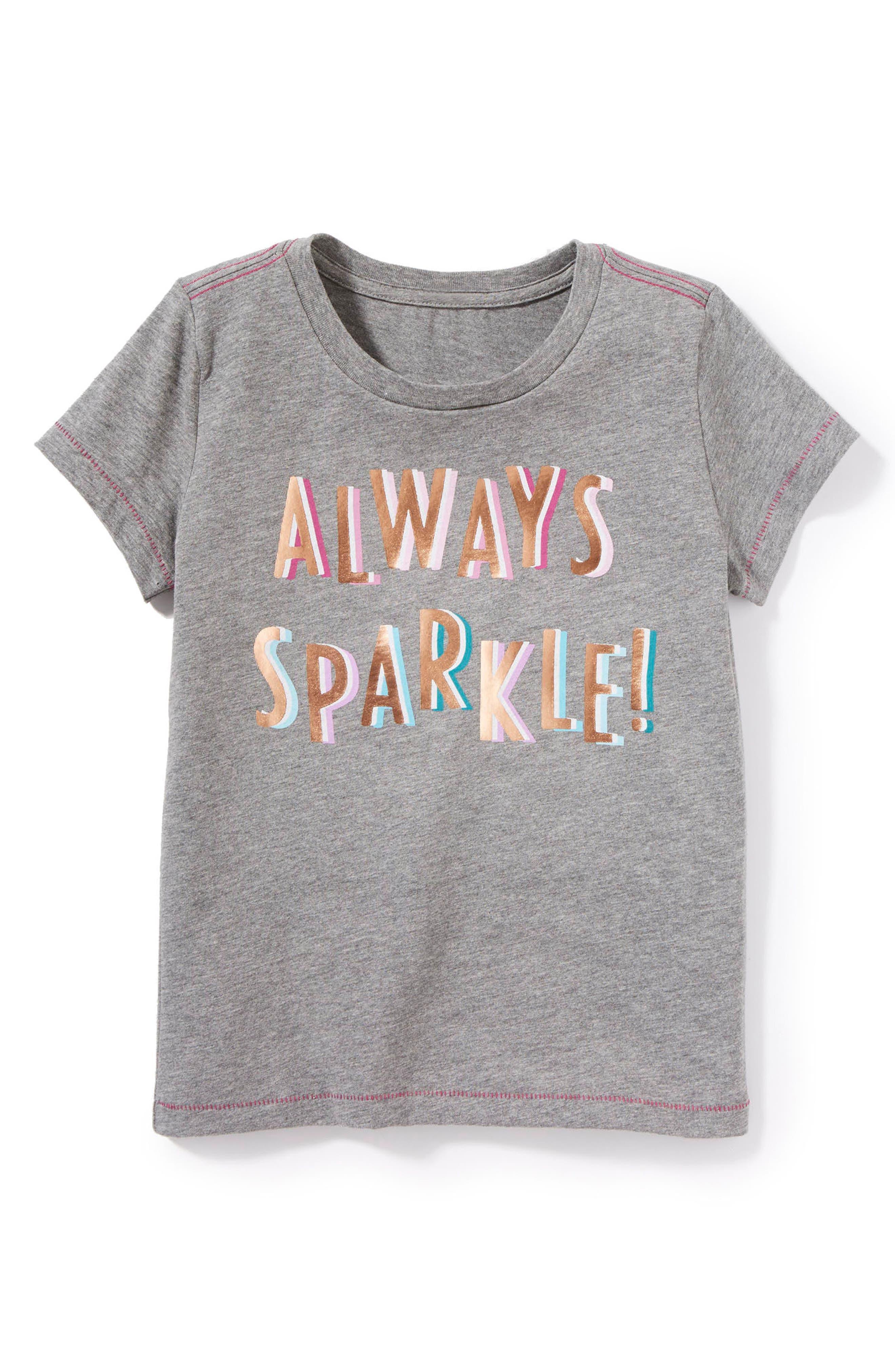 Alternate Image 1 Selected - Peek Always Sparkle Graphic Tee (Toddler Girls, Little Girls & Big Girls)