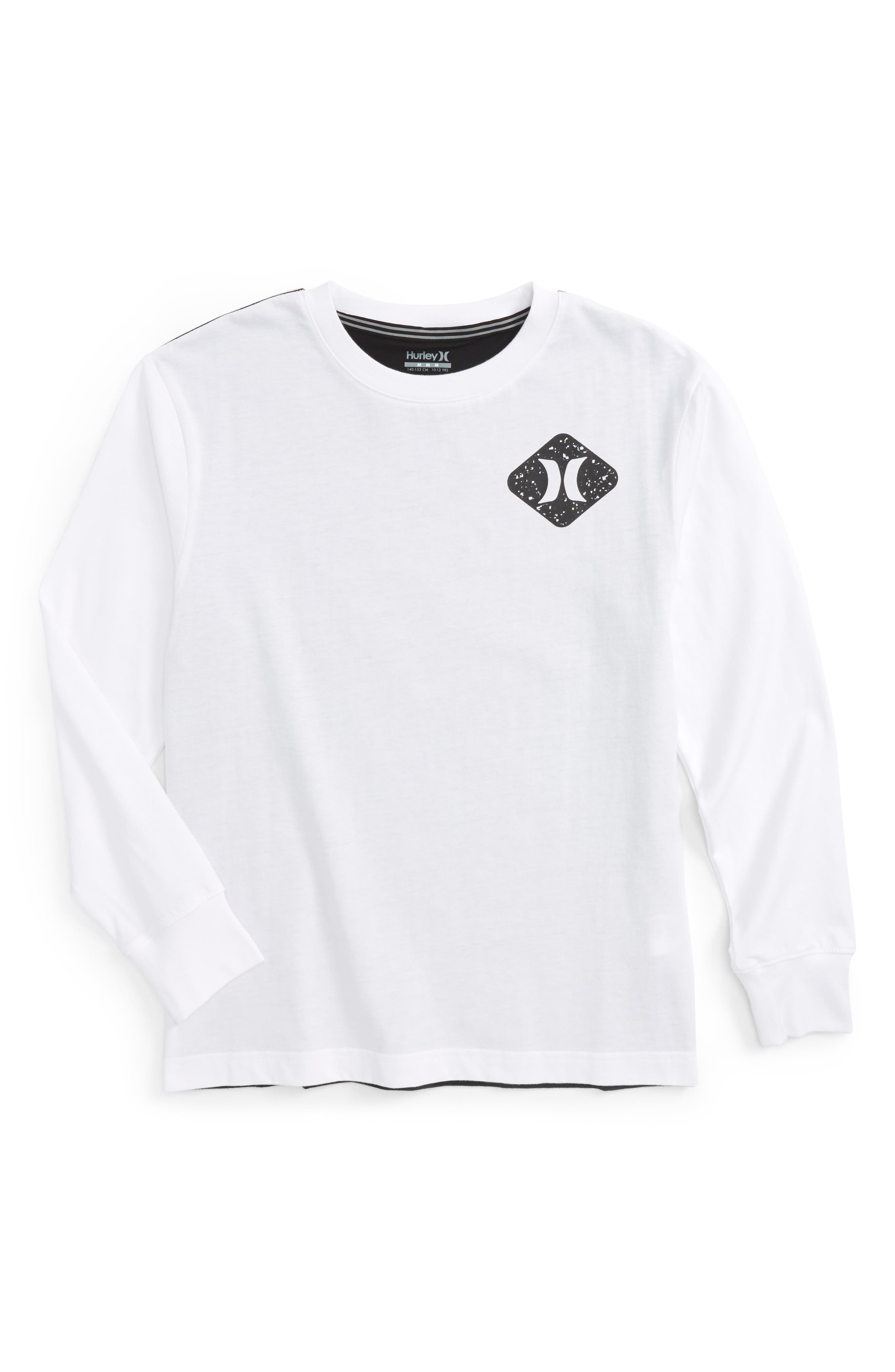Colorblocked Long Sleeve Logo T-Shirt,                         Main,                         color, White