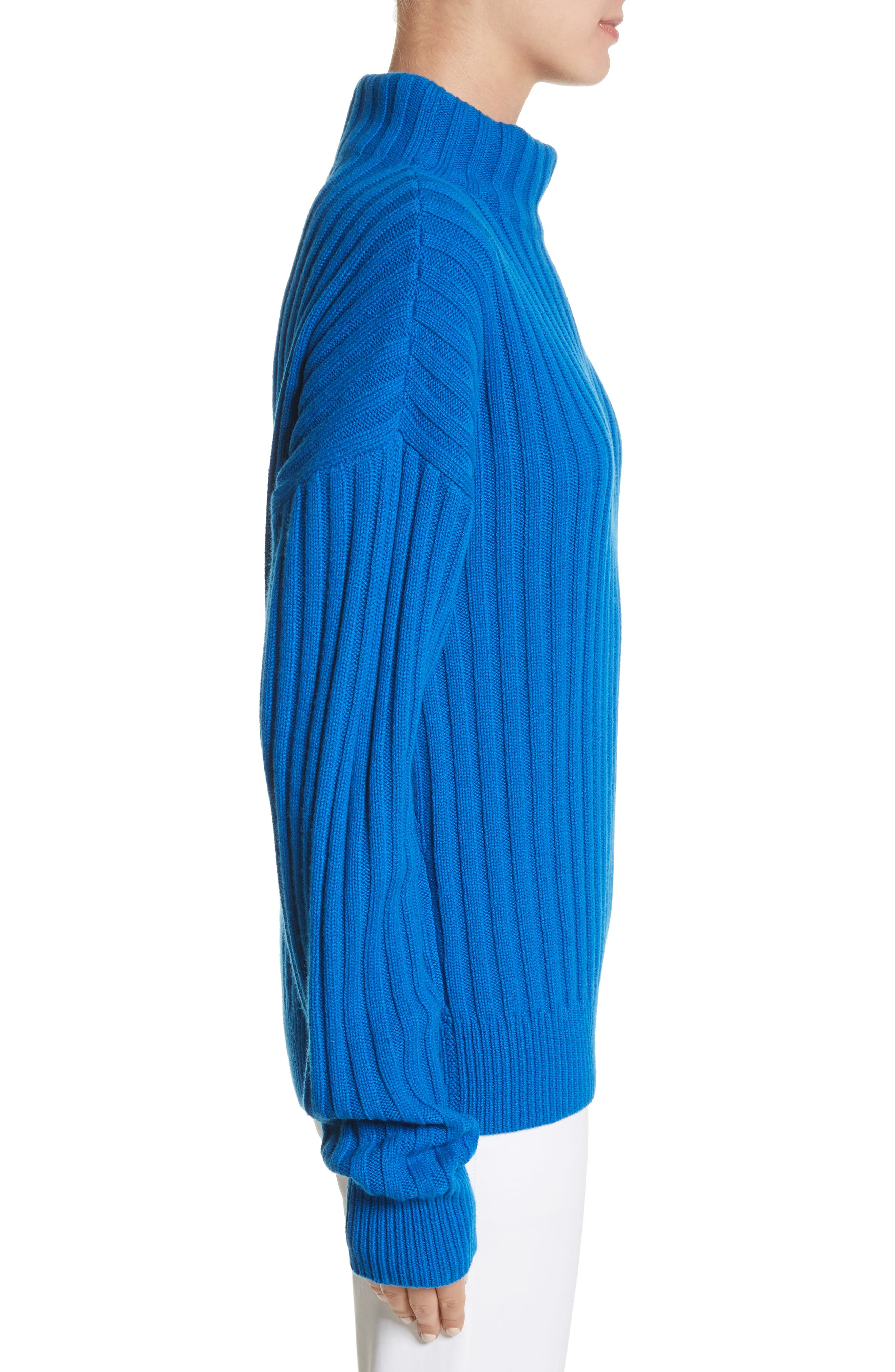 Cashmere Funnel Neck Pullover,                             Alternate thumbnail 3, color,                             Mediterranean