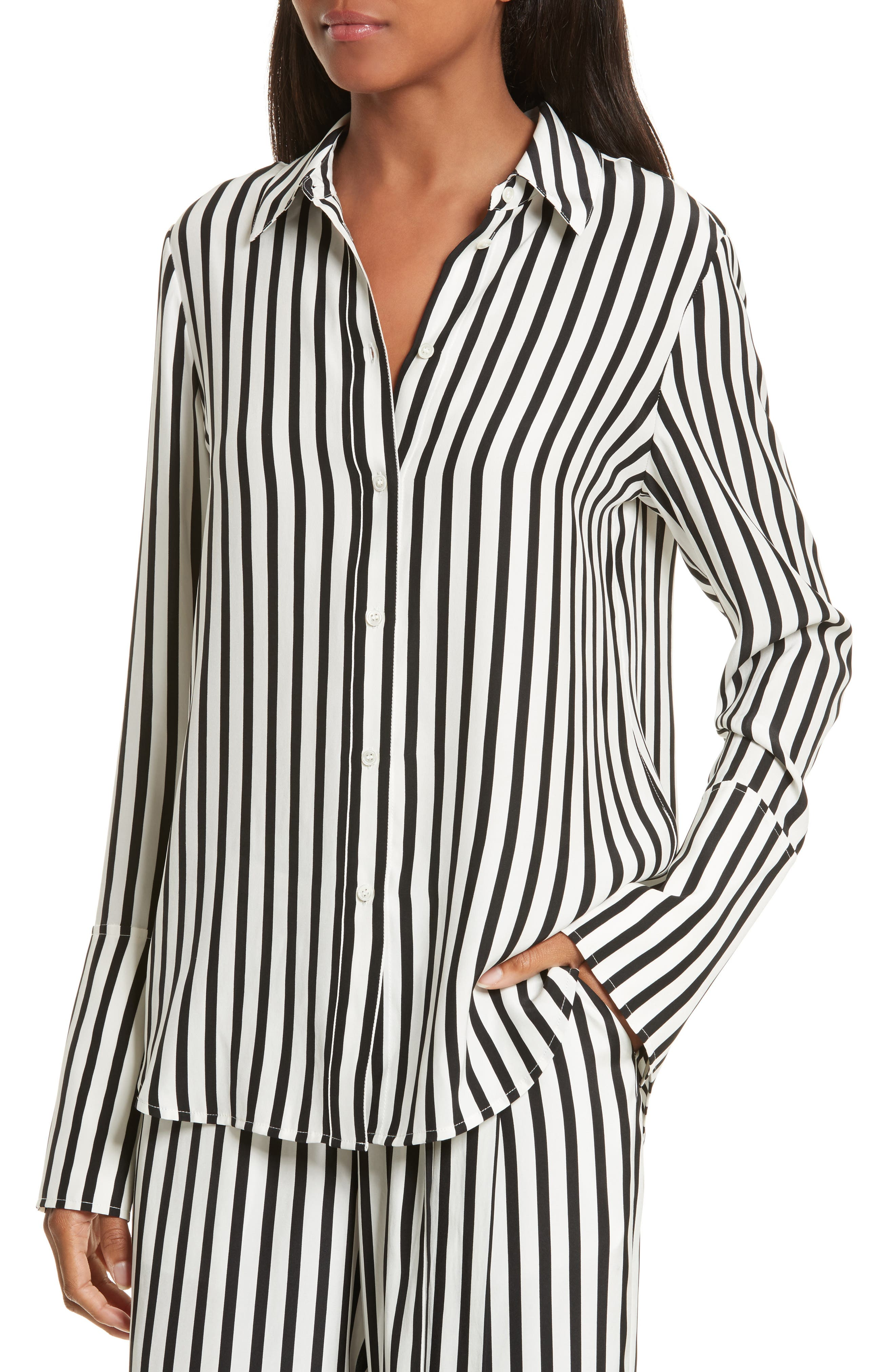 Stripe Silk Shirt,                             Main thumbnail 1, color,                             Noir Multi