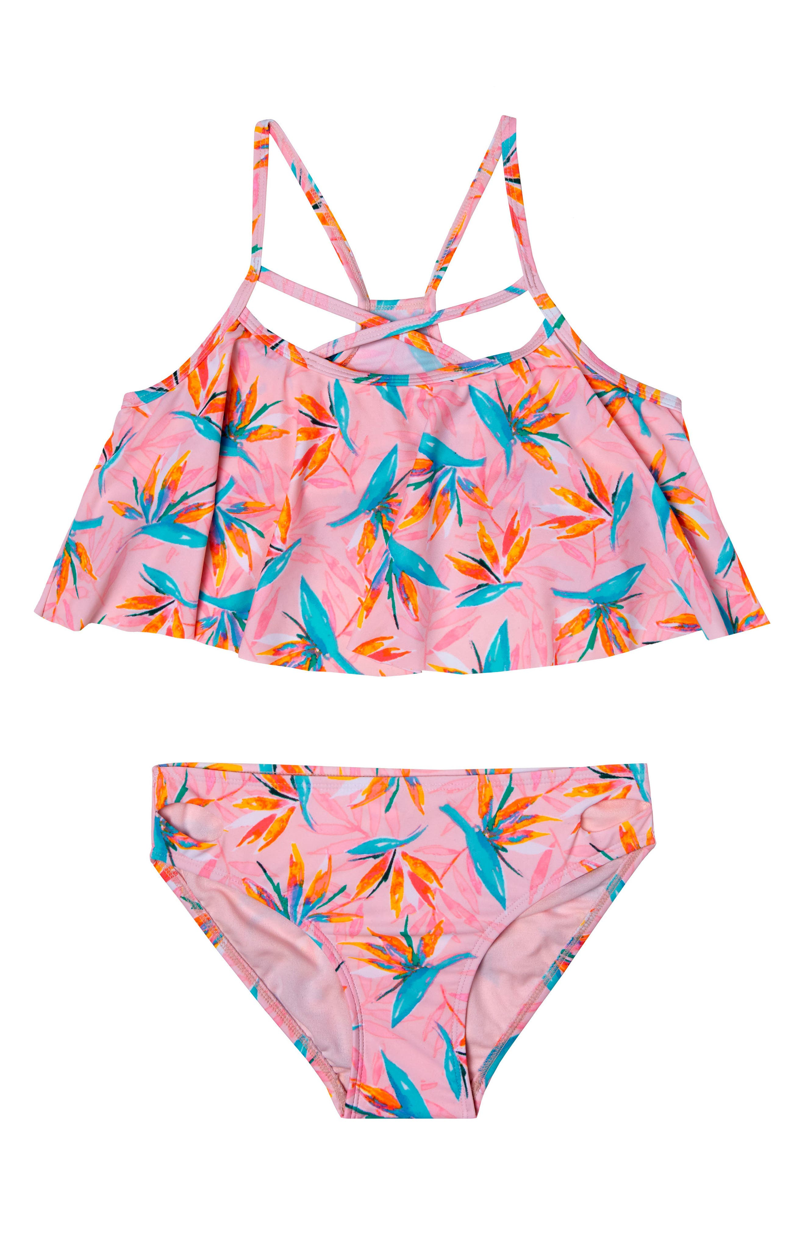Paradise Haven Two-Piece Swimsuit,                             Main thumbnail 1, color,                             Pink