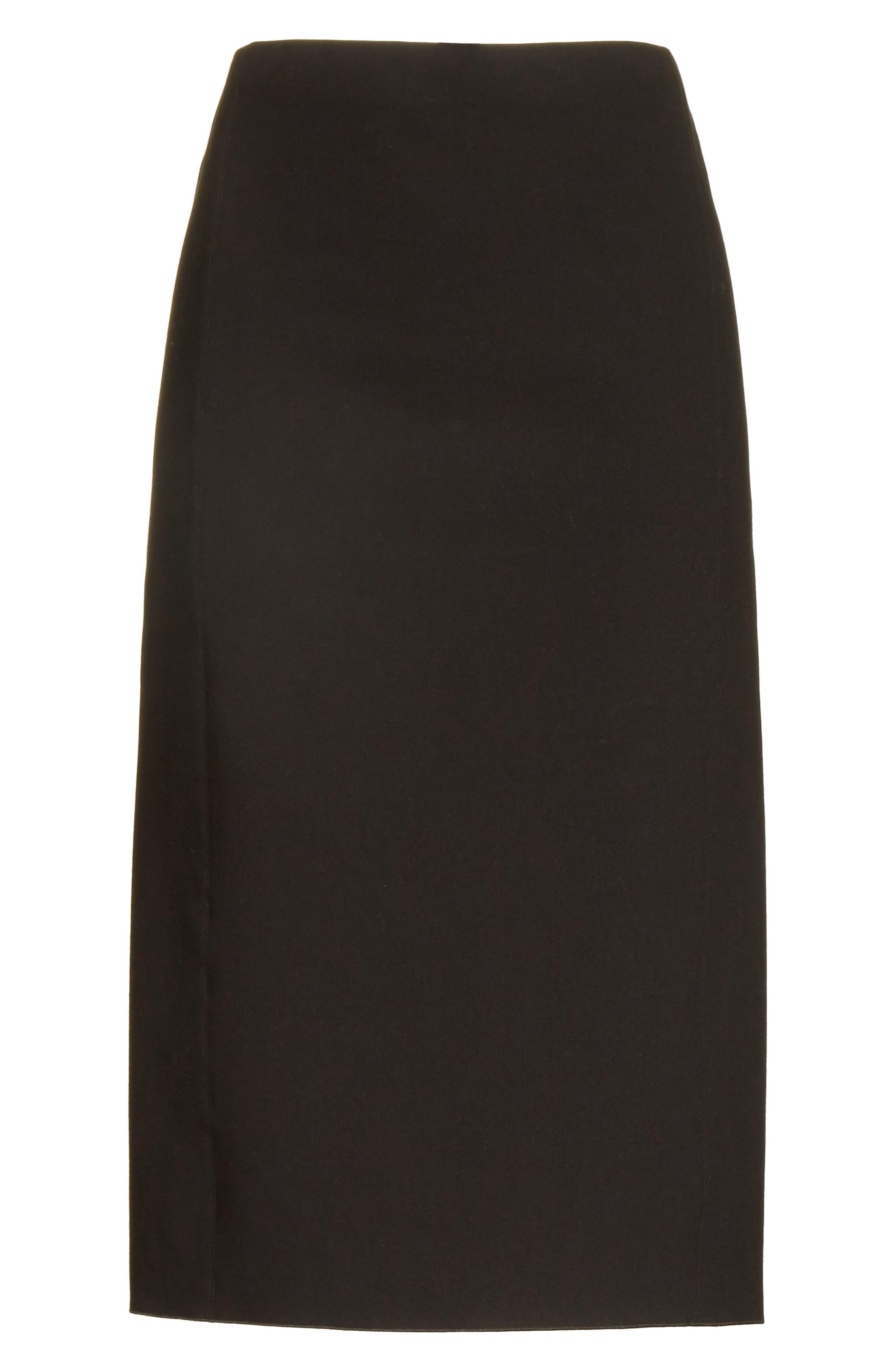 Stretch Ponte Pencil Skirt,                             Alternate thumbnail 6, color,                             Black