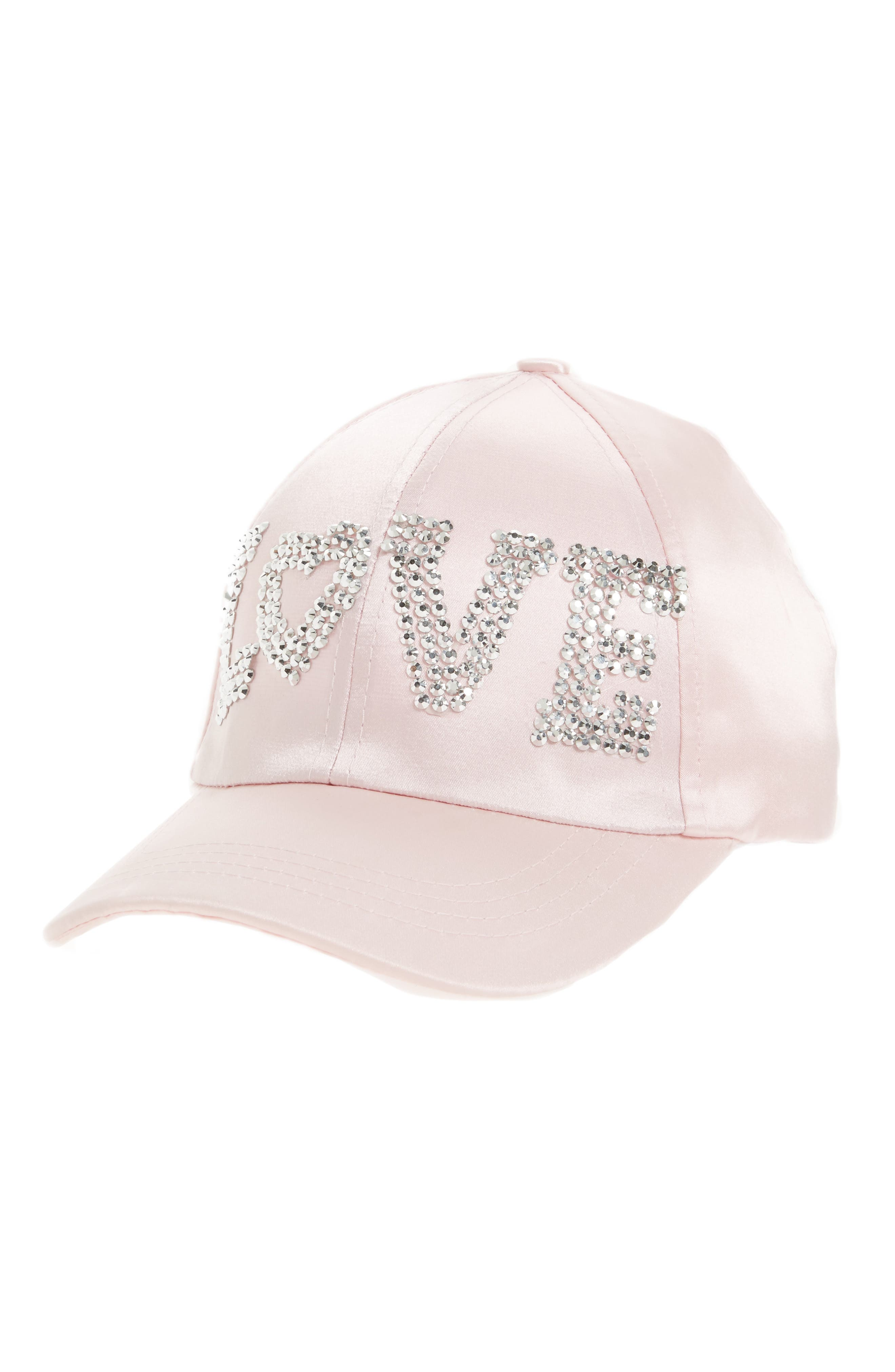 Capelli of New York Crystal Love Satin Ball Cap (Big Girls)