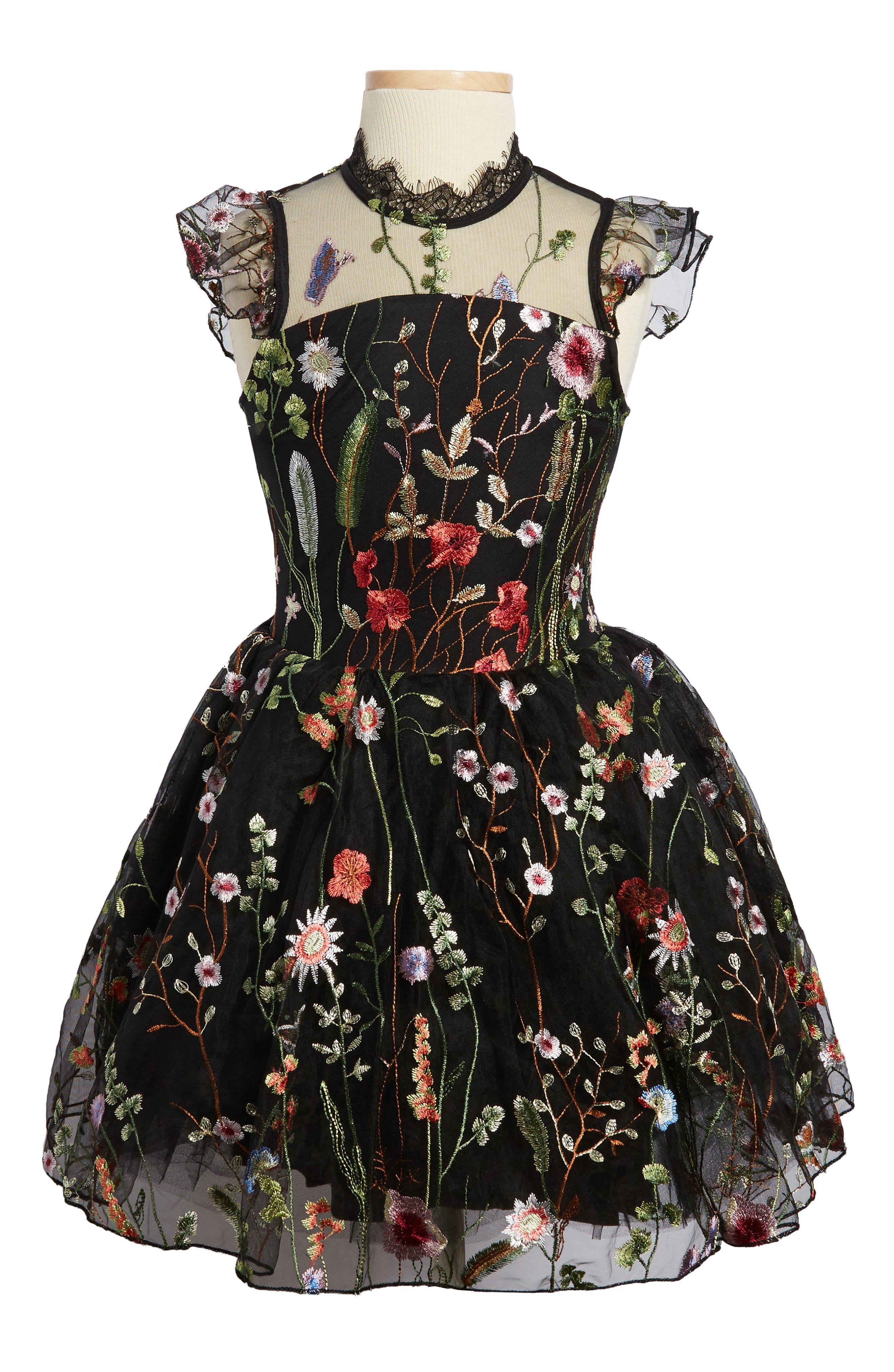Alternate Image 1 Selected - Miss Behave Charisse Embroidered Floral Dress (Big Girls)