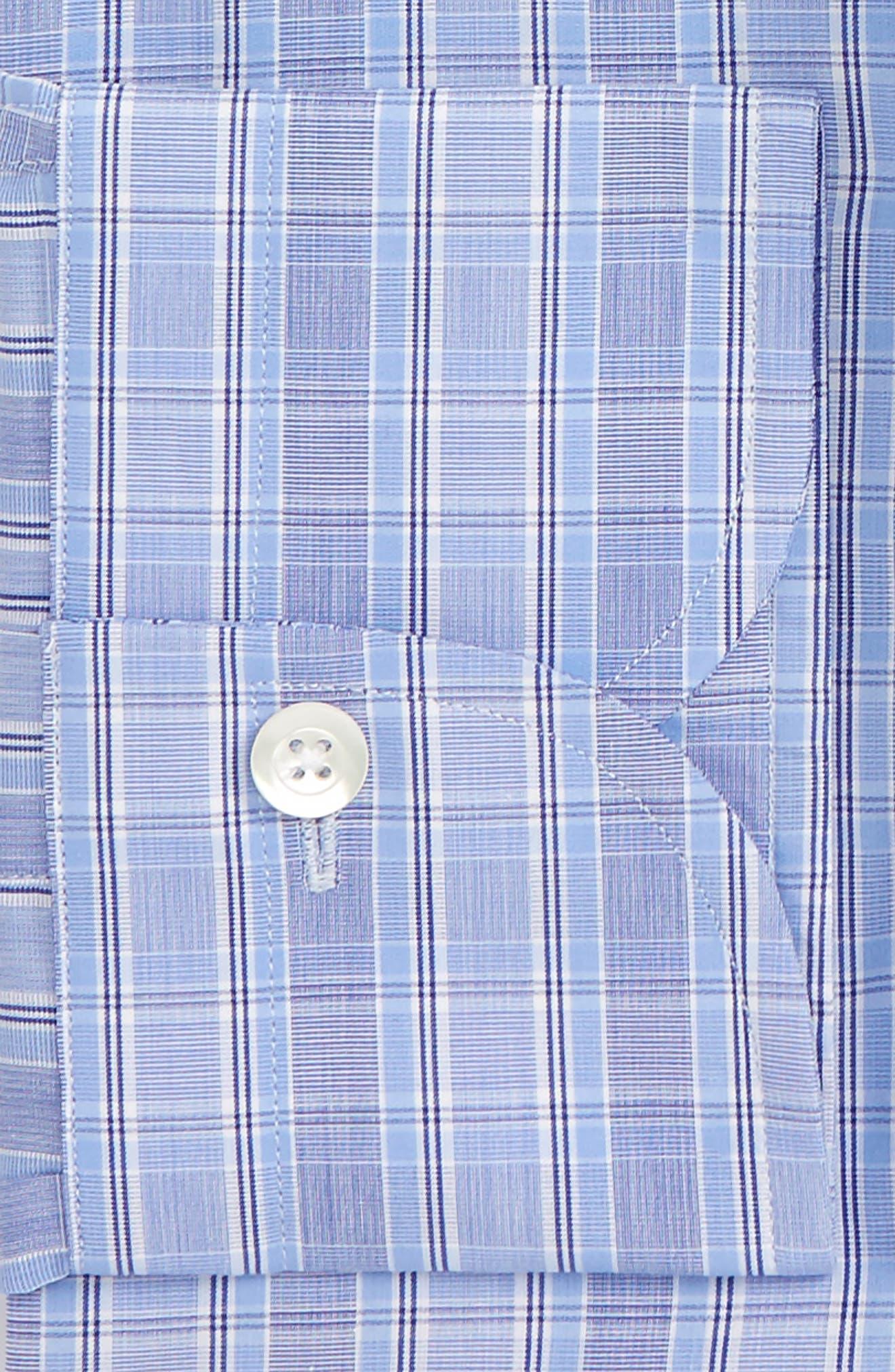 Slim Fit Plaid Dress Shirt,                             Alternate thumbnail 2, color,                             Blue