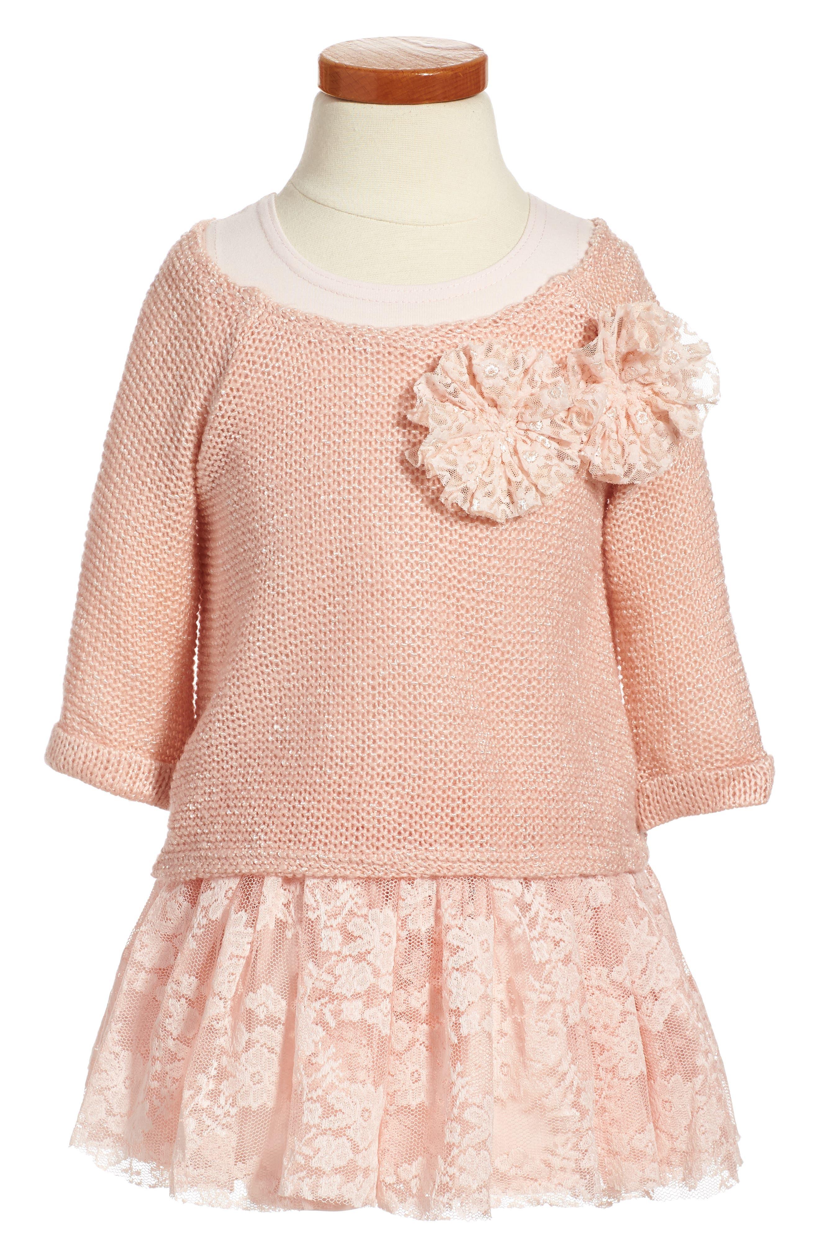 Main Image - Pippa & Julie Sweater & Lace Skirt Dress (Toddler Girls, Little Girls & Big Girls)