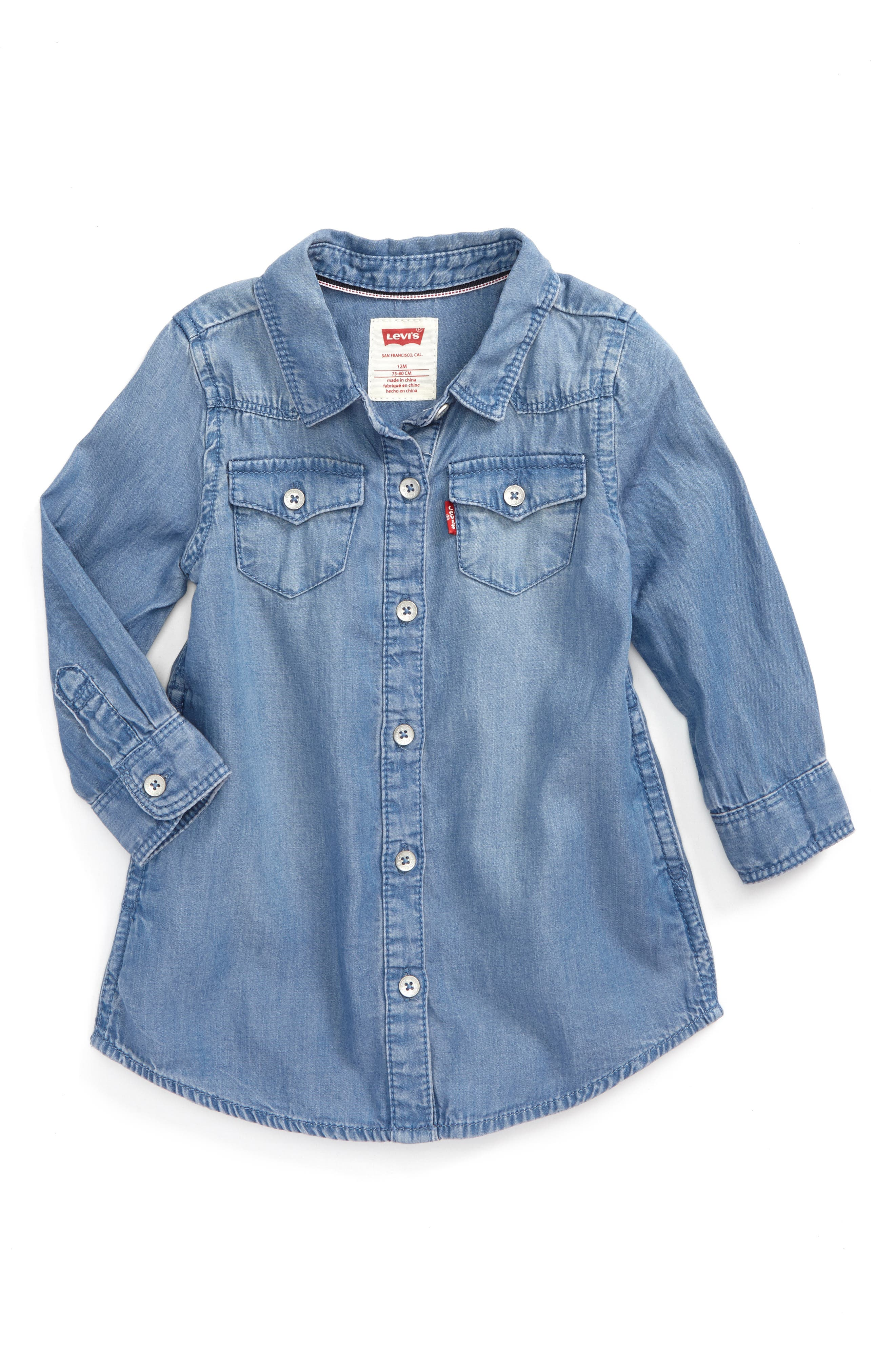Levi's® The Western Chambray Shirtdress (Baby Girls)
