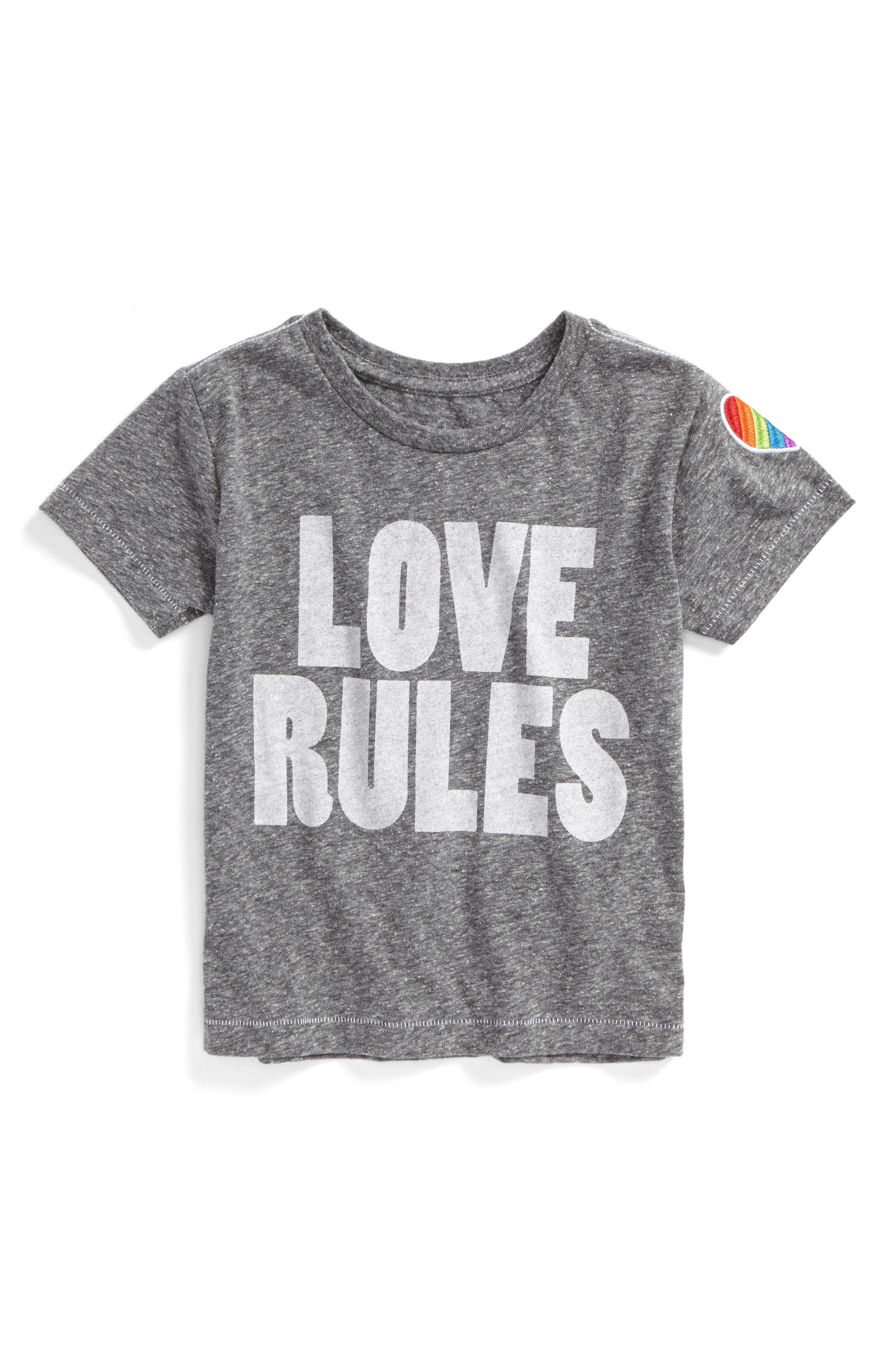 Love Rules Graphic Tee,                         Main,                         color, Heather Grey