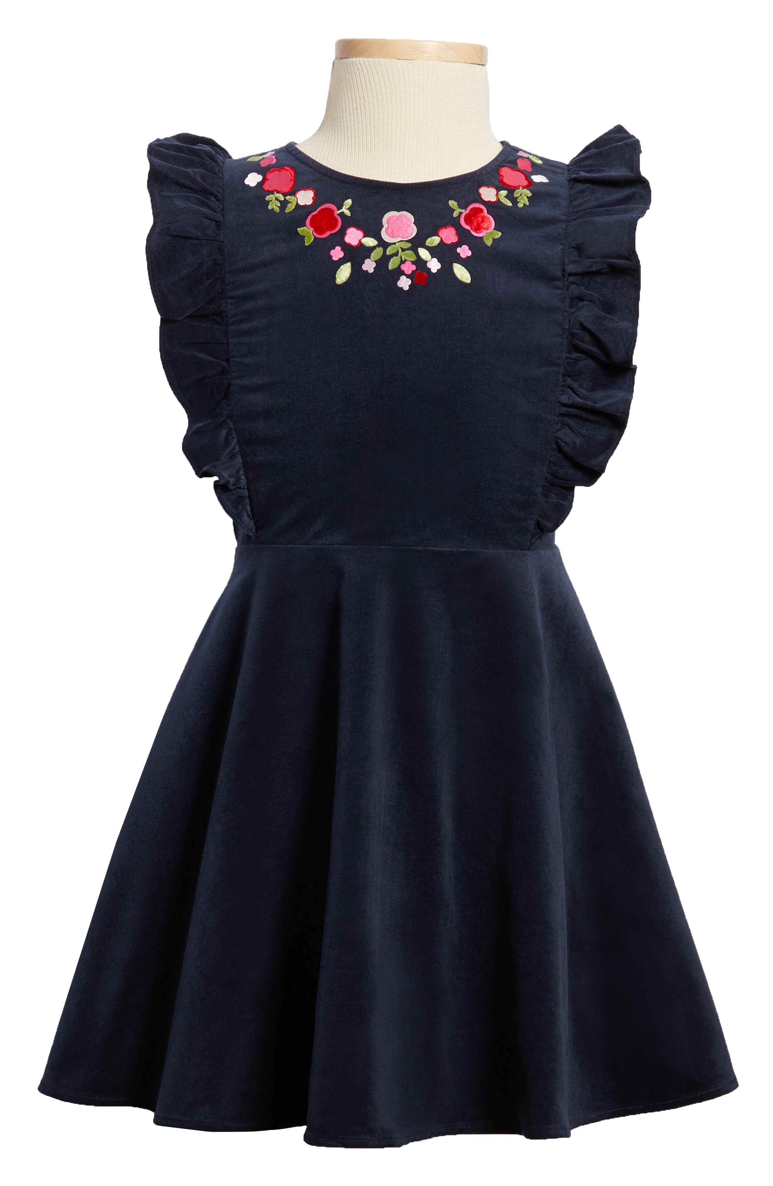 Floral Embroidered Corduroy Dress,                             Main thumbnail 1, color,                             Regal