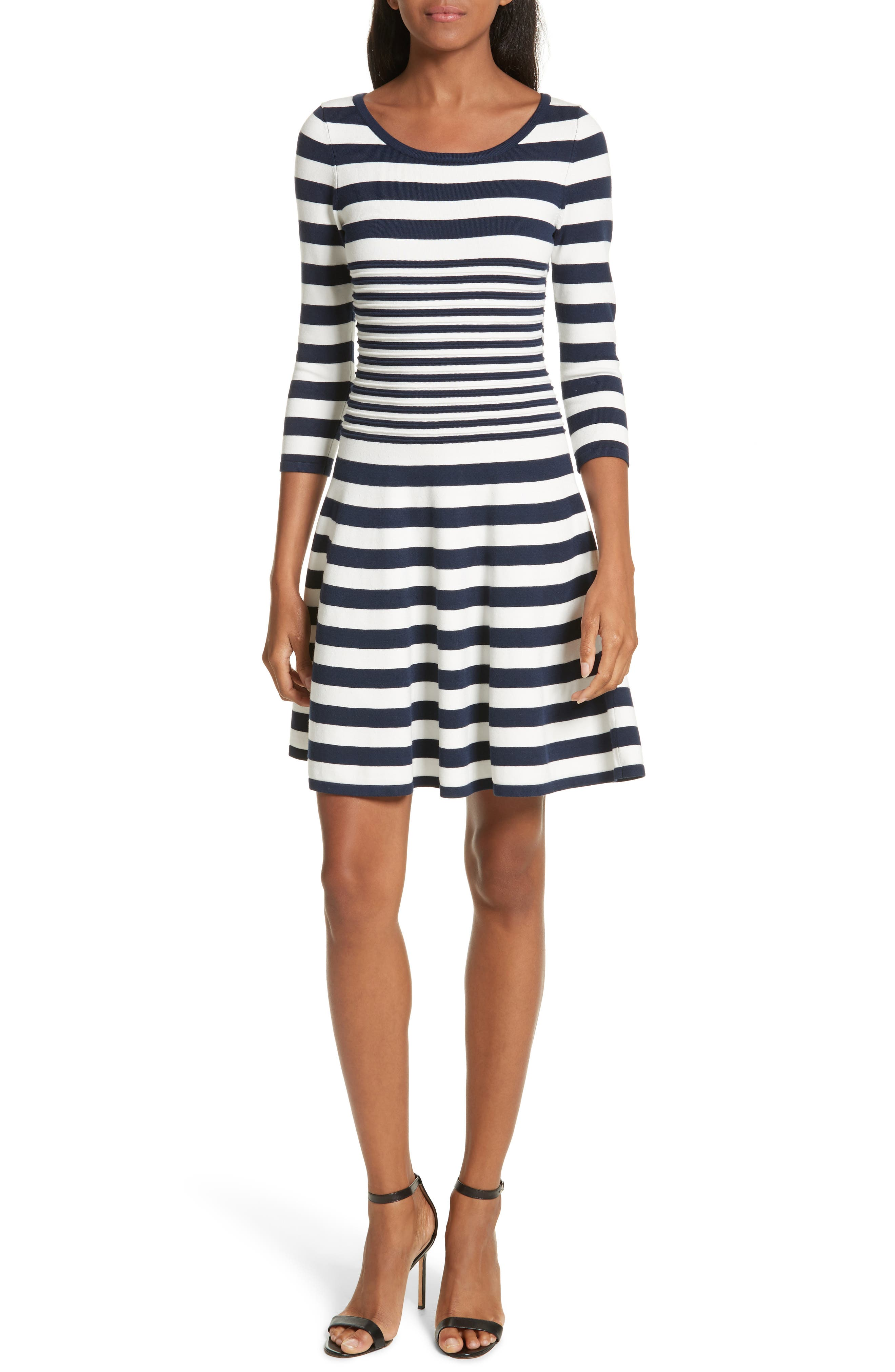 Striped Ottoman Fit & Flare Dress,                         Main,                         color, White/ Navy