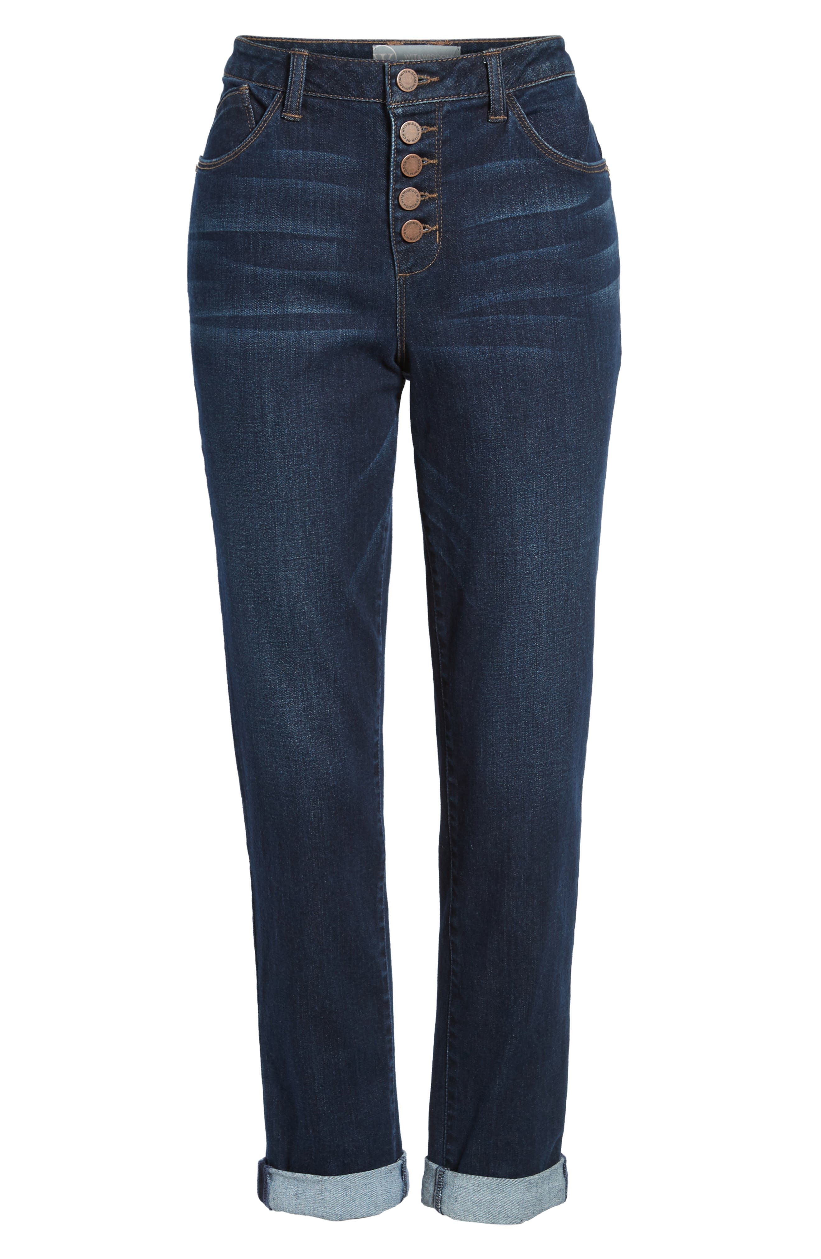 Exposed Button Fly Skinny Jeans,                             Alternate thumbnail 7, color,                             Blue