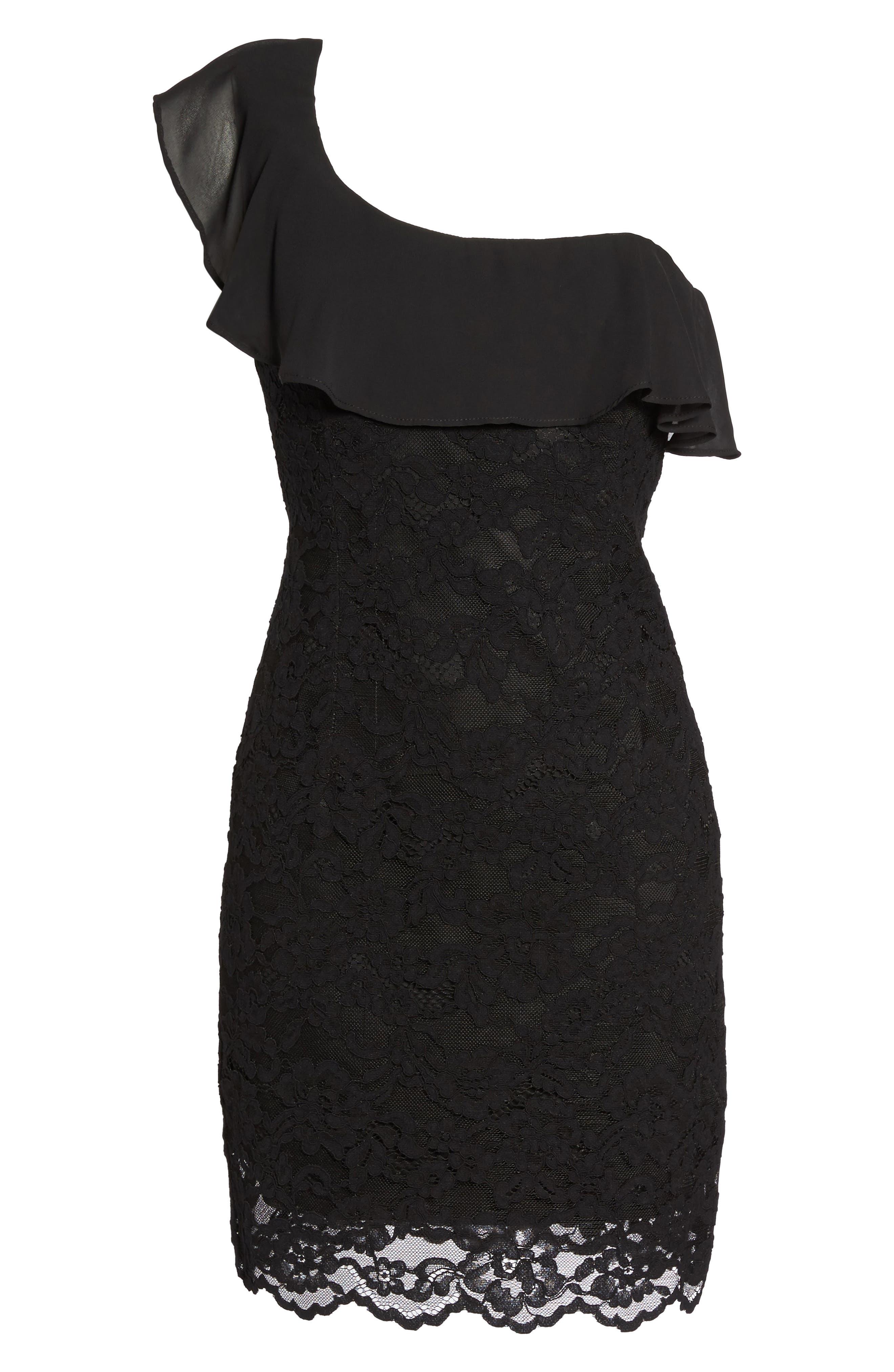 Fiorella One-Shoulder Lace Body-Con Dress,                             Alternate thumbnail 6, color,                             Black