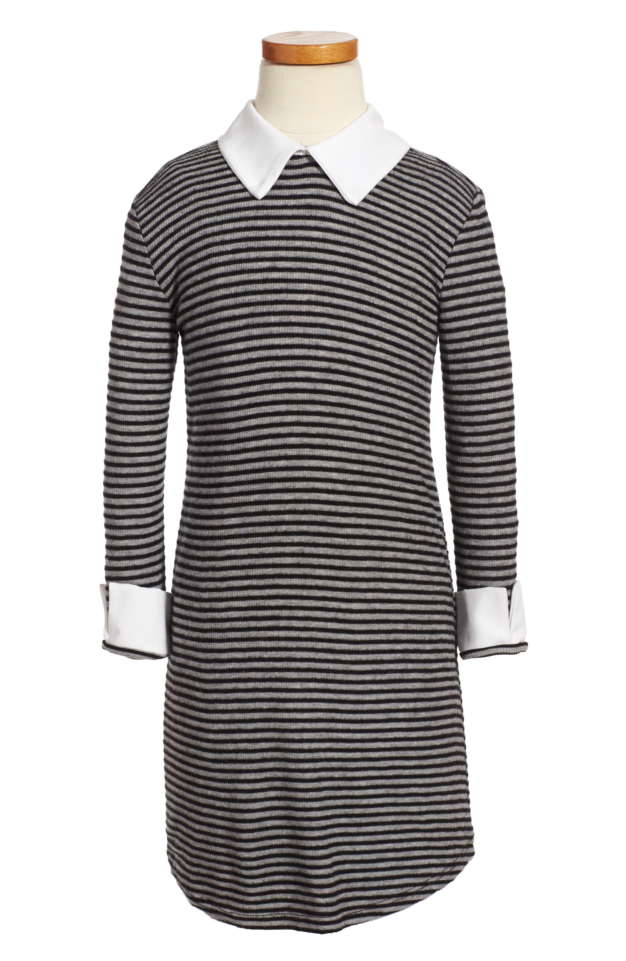 Main Image - Kiddo Mixed Media Stripe Dress (Big Girls)
