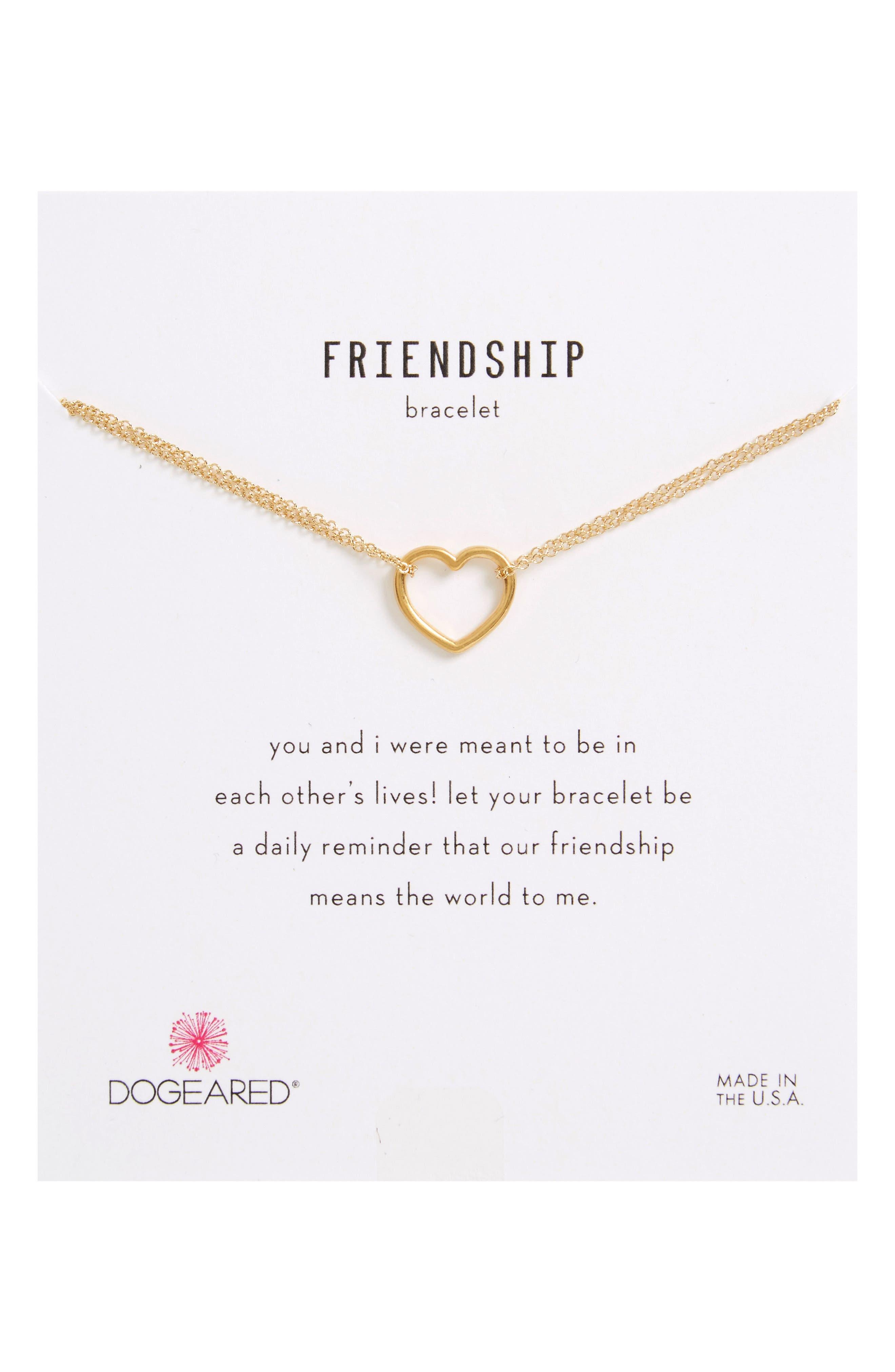 Friendship Medium Open Heart Charm Chain Bracelet,                             Main thumbnail 1, color,                             Gold