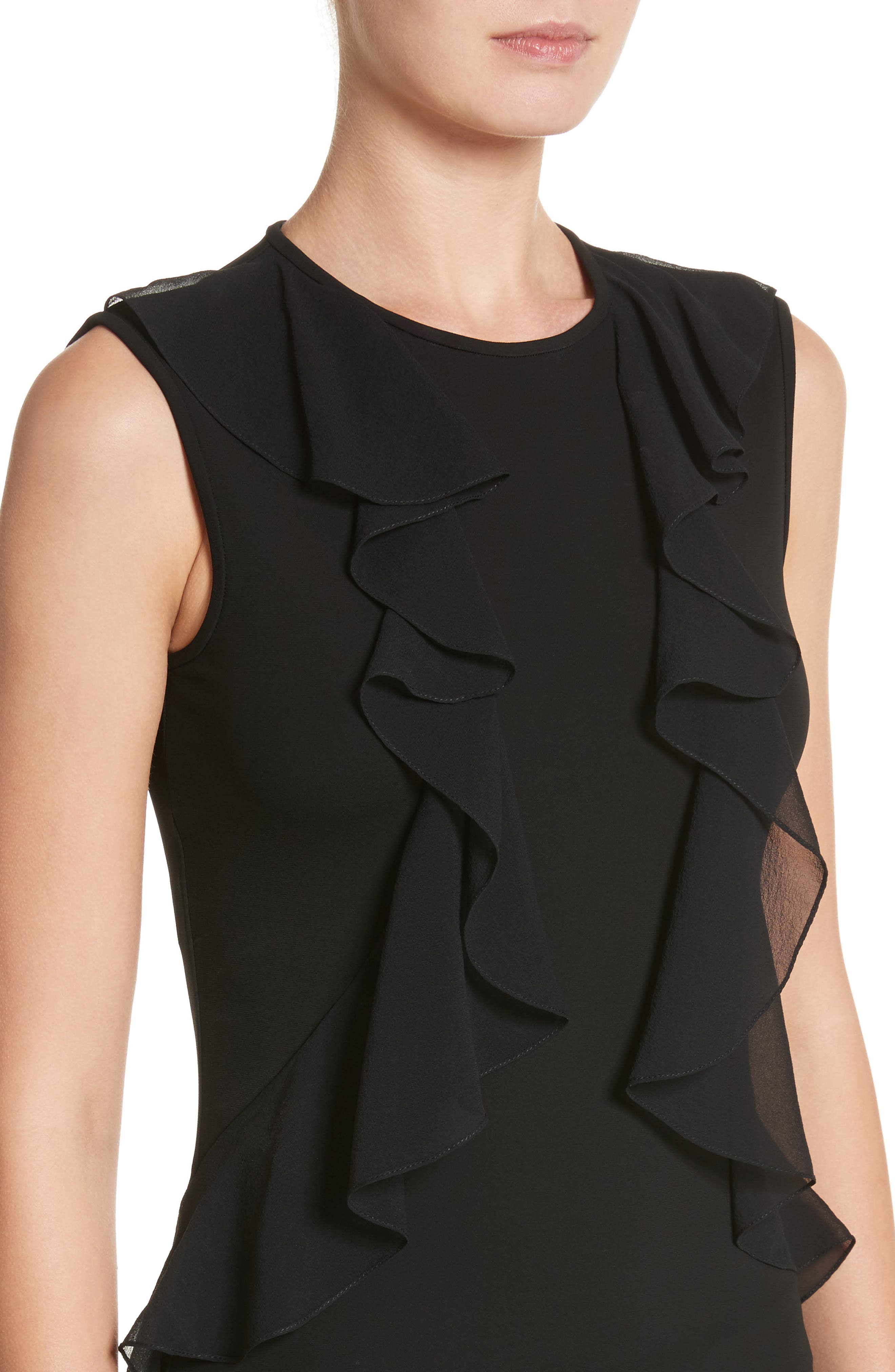 Ruffle Front Georgette Shell,                             Alternate thumbnail 3, color,                             Black