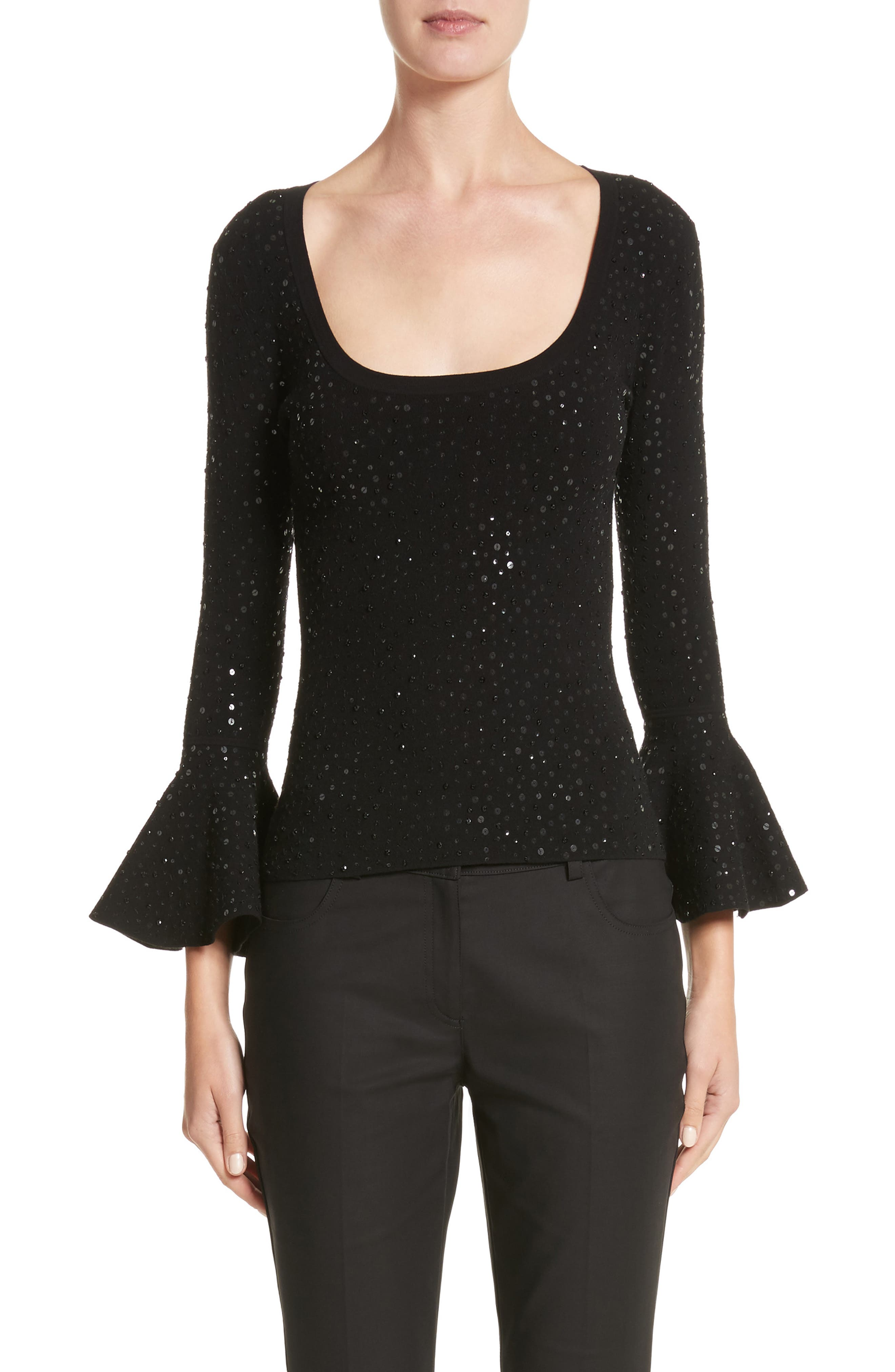 Sequin Bell Sleeve Top,                         Main,                         color, Black