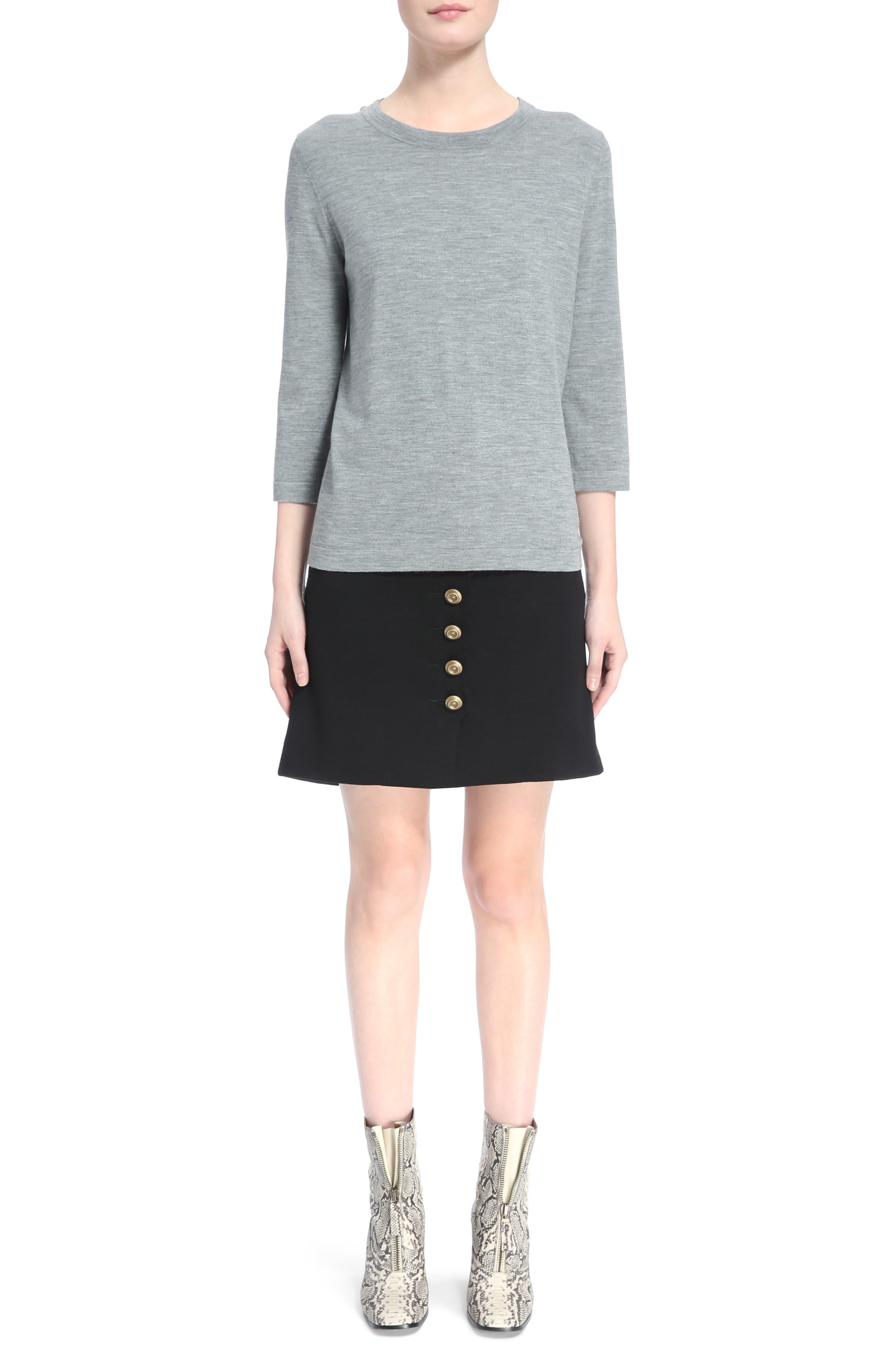 Button Detail Wool Knit Skirt,                             Alternate thumbnail 2, color,                             Black