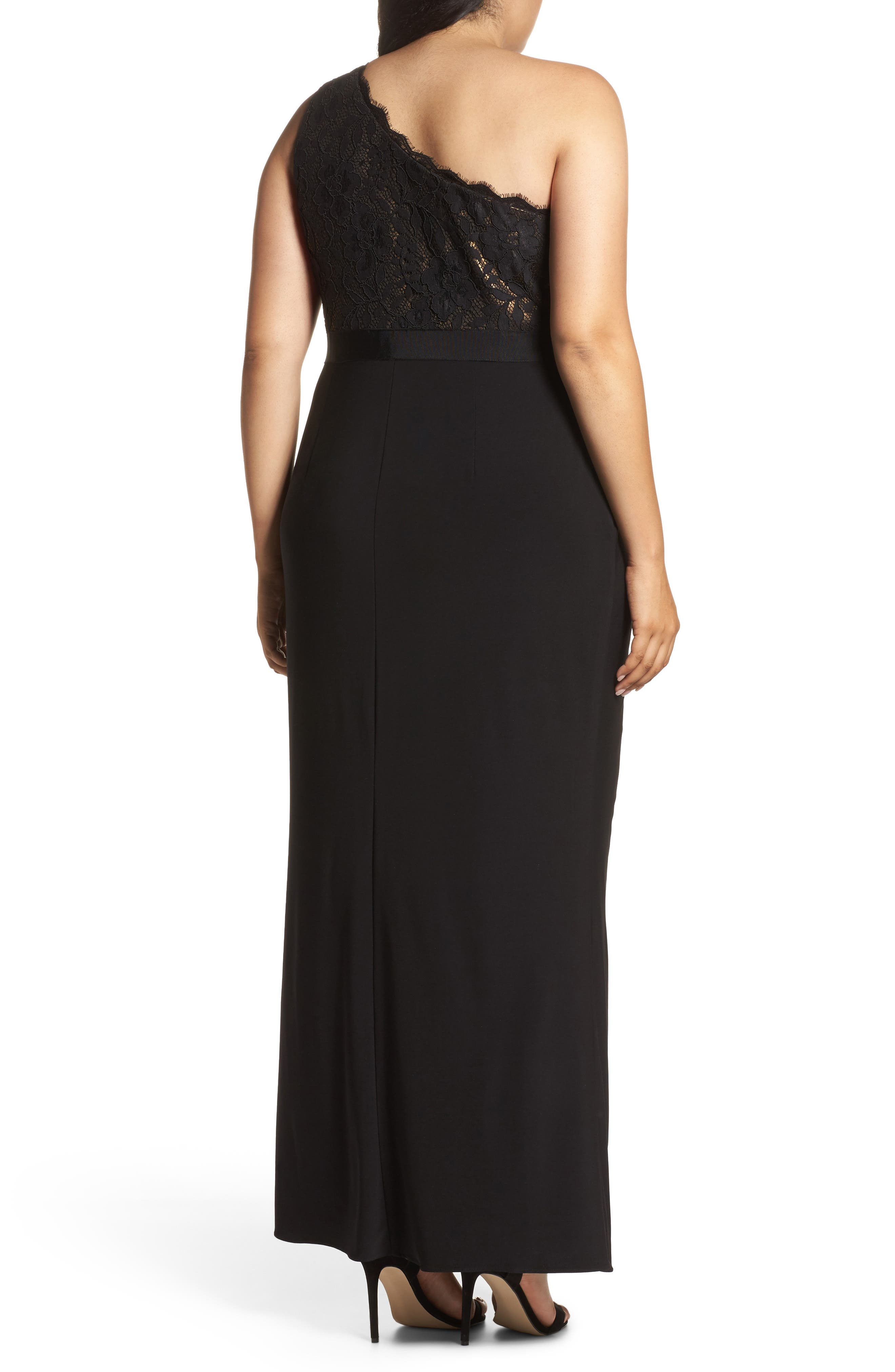 Metallic Lined Lace & Chiffon One-Shoulder Gown,                             Alternate thumbnail 2, color,                             Black/ Copper