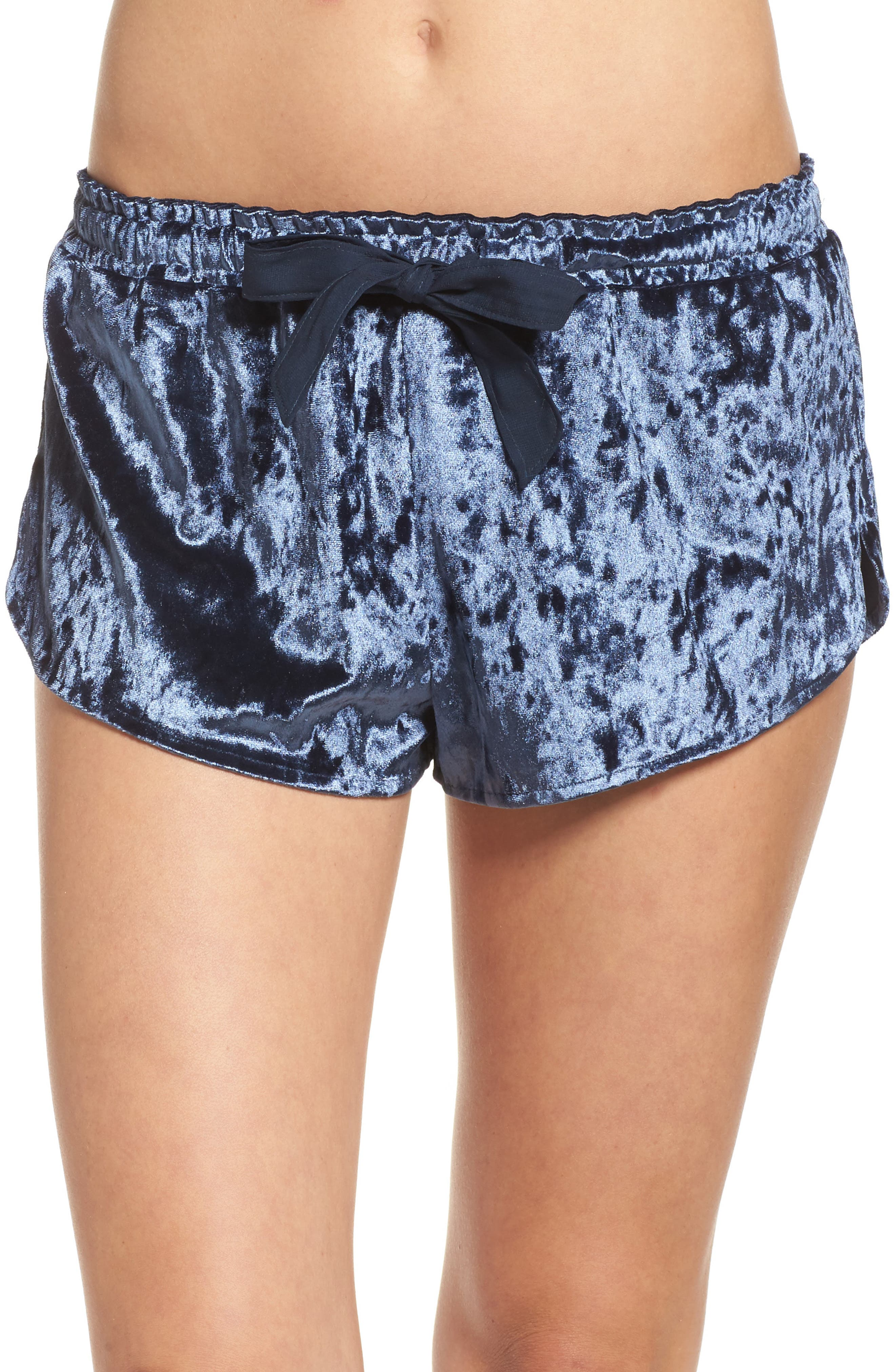Starry Night Velvet Pajama Shorts,                             Main thumbnail 1, color,                             Navy Indigo