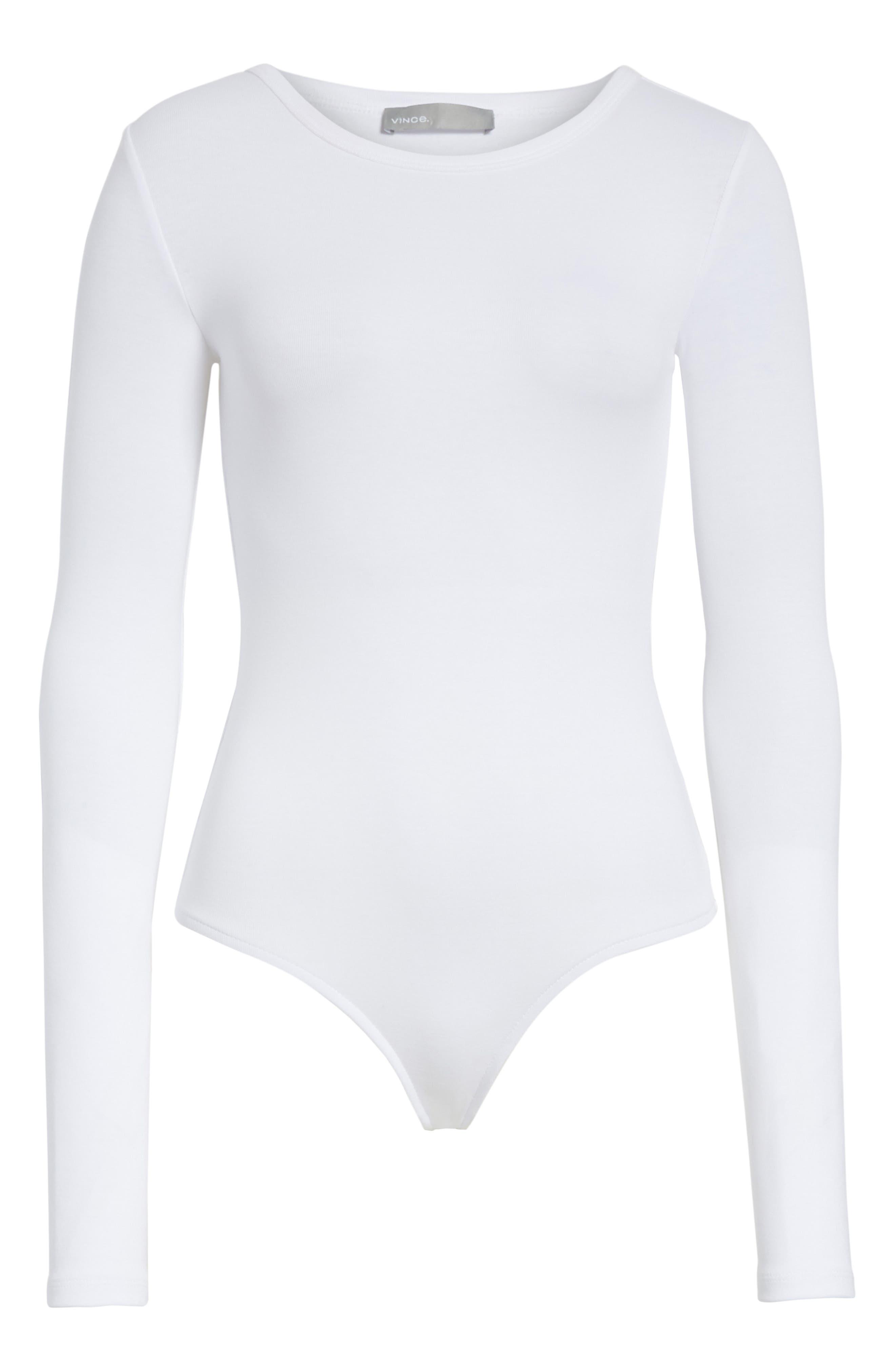 Stretch Cotton Bodysuit,                             Alternate thumbnail 6, color,                             Optic White