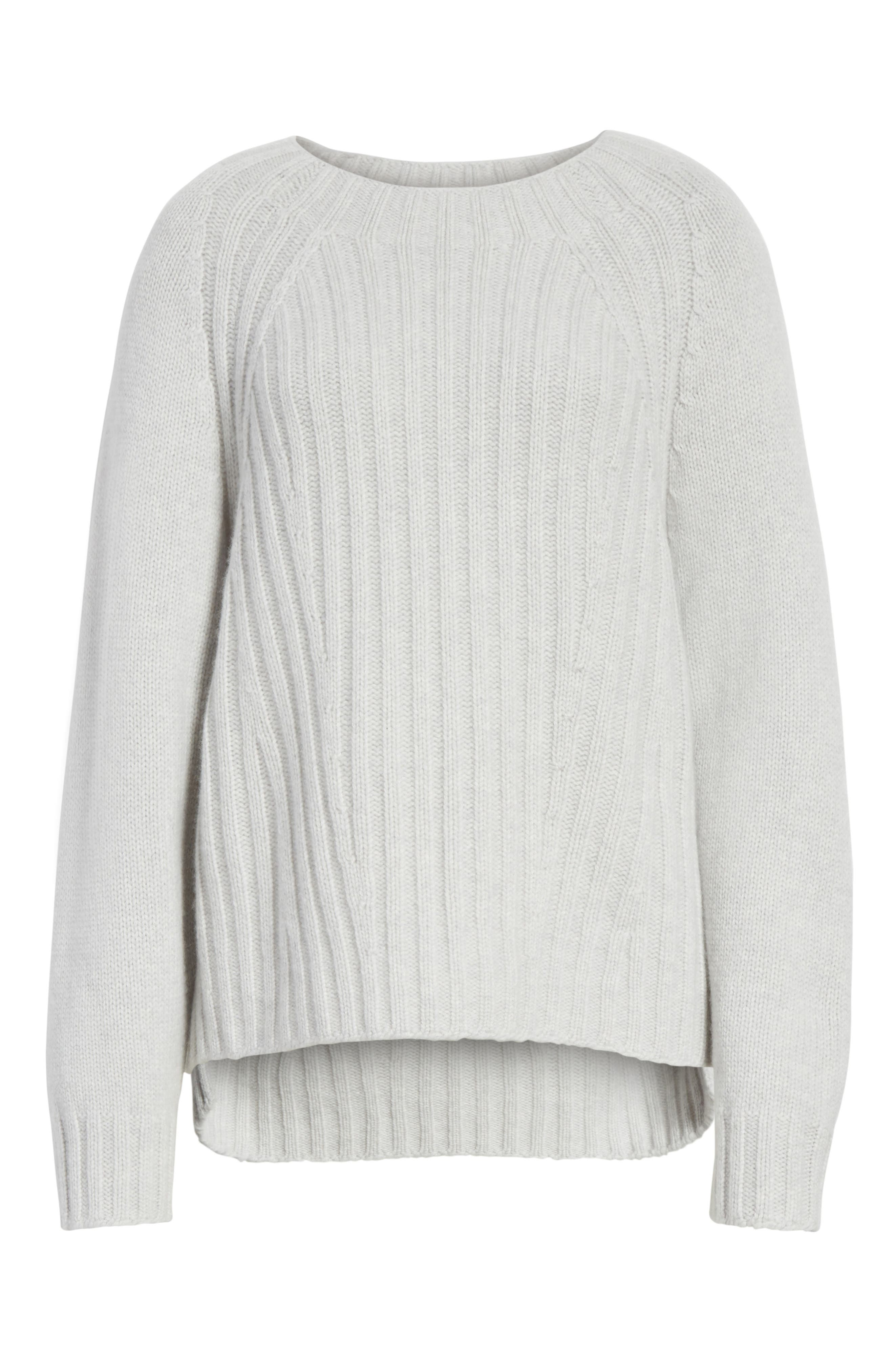 Ribbed Wool & Cashmere Sweater,                             Alternate thumbnail 6, color,                             Light Heather Grey