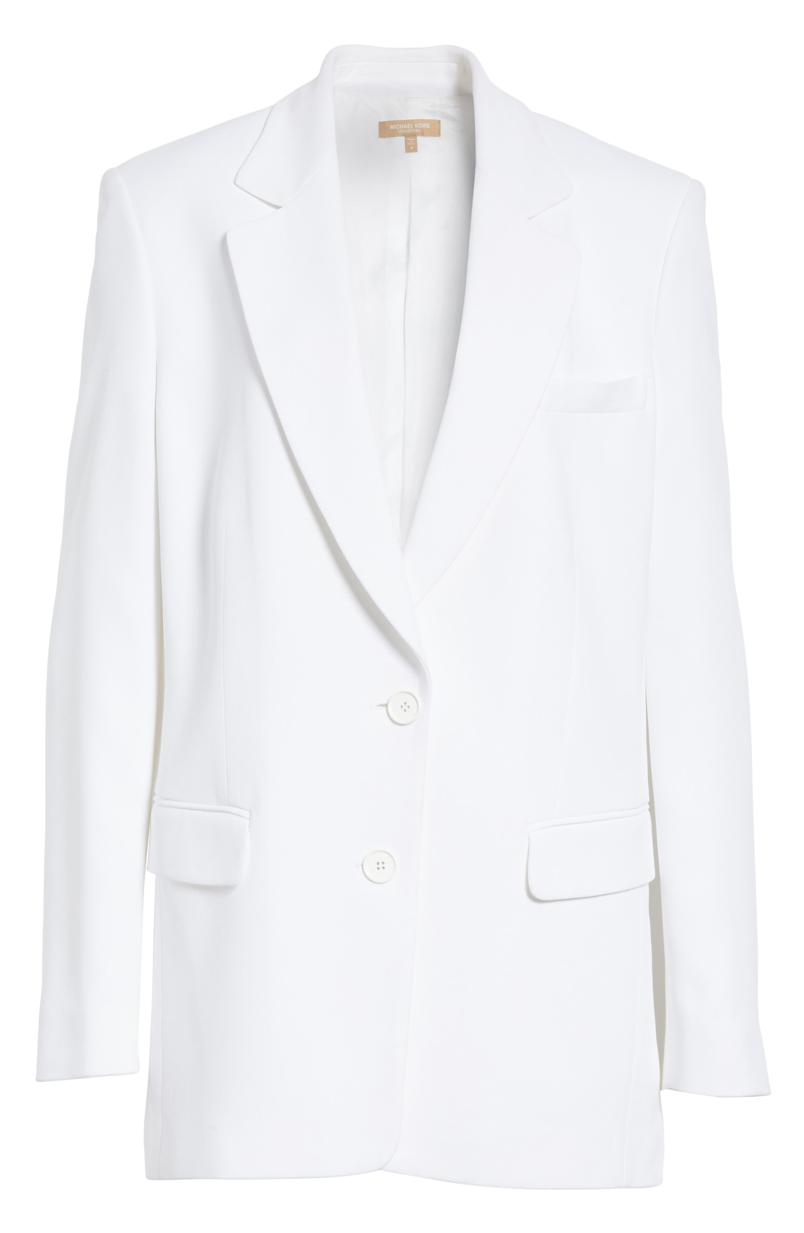 Double Crepe Sable Jacket,                             Alternate thumbnail 7, color,                             Optic White