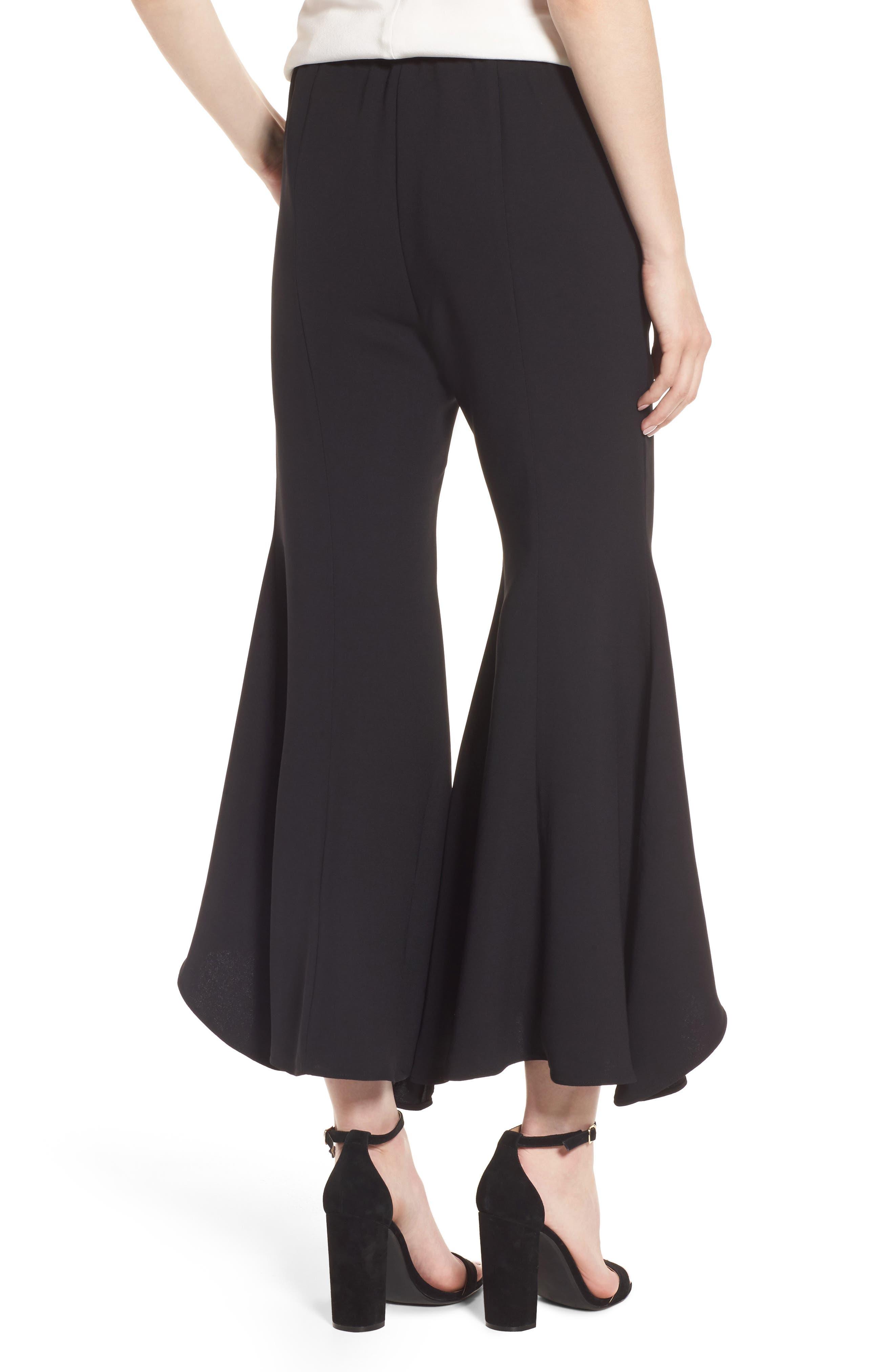 Ruffle Crop Flare Pants,                             Alternate thumbnail 2, color,                             Black