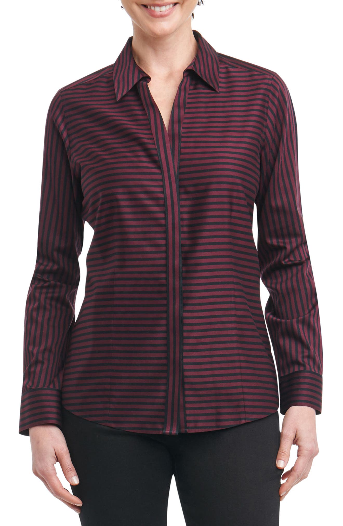 Ellen Non-Iron Stripe Sateen Shirt,                             Main thumbnail 1, color,                             Port