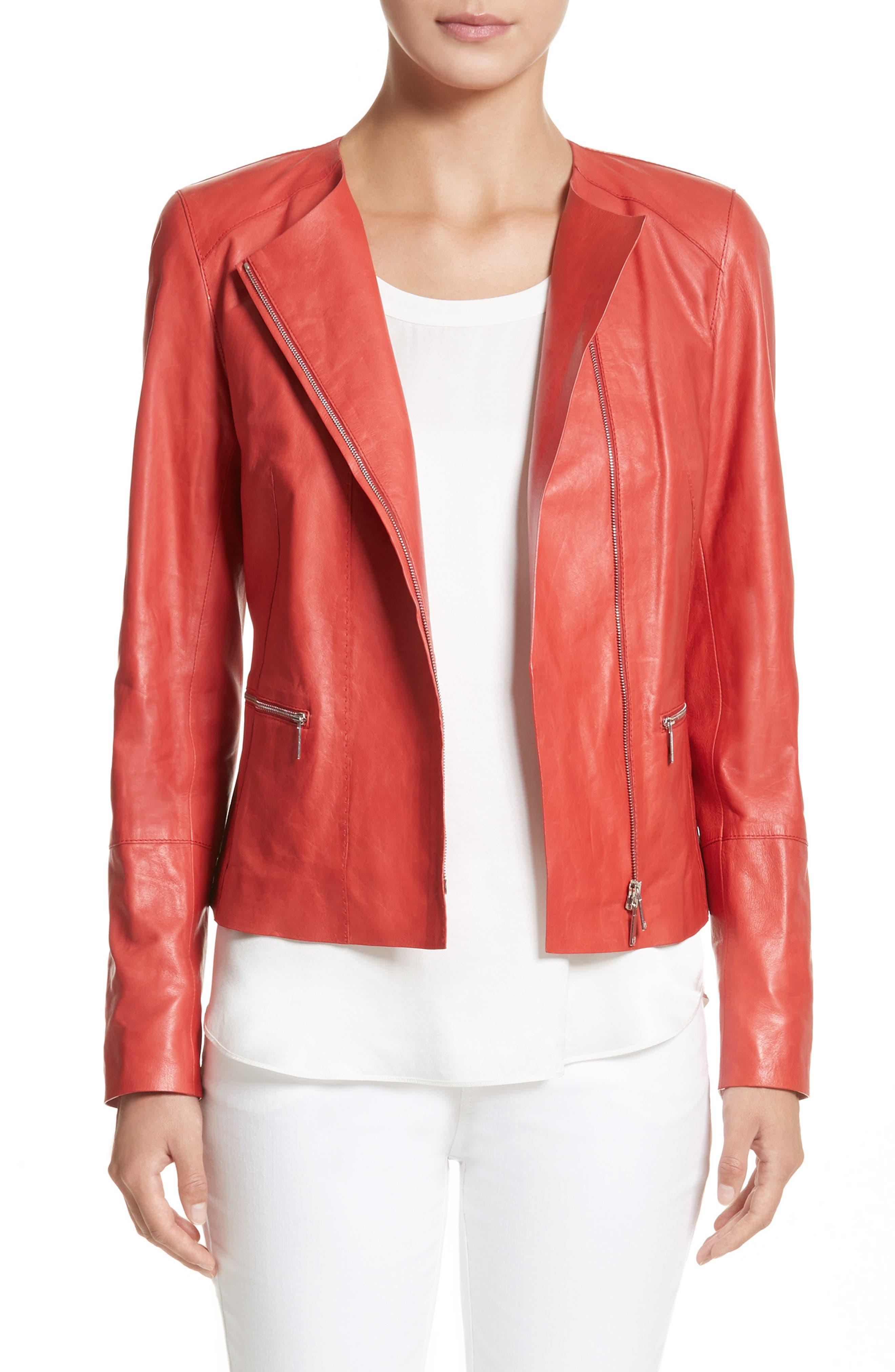 Caridee Glazed Lambskin Leather Jacket,                         Main,                         color, Salsa