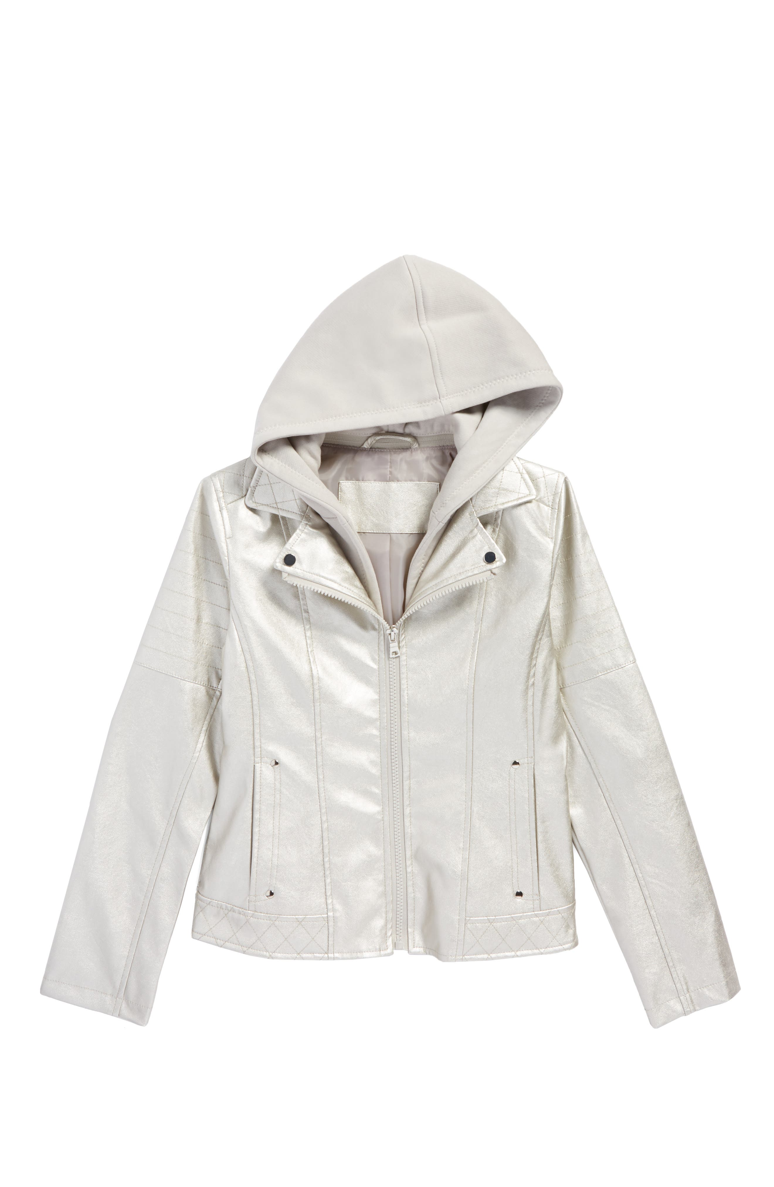 Faux Leather Hooded Jacket,                         Main,                         color, Warm Silver