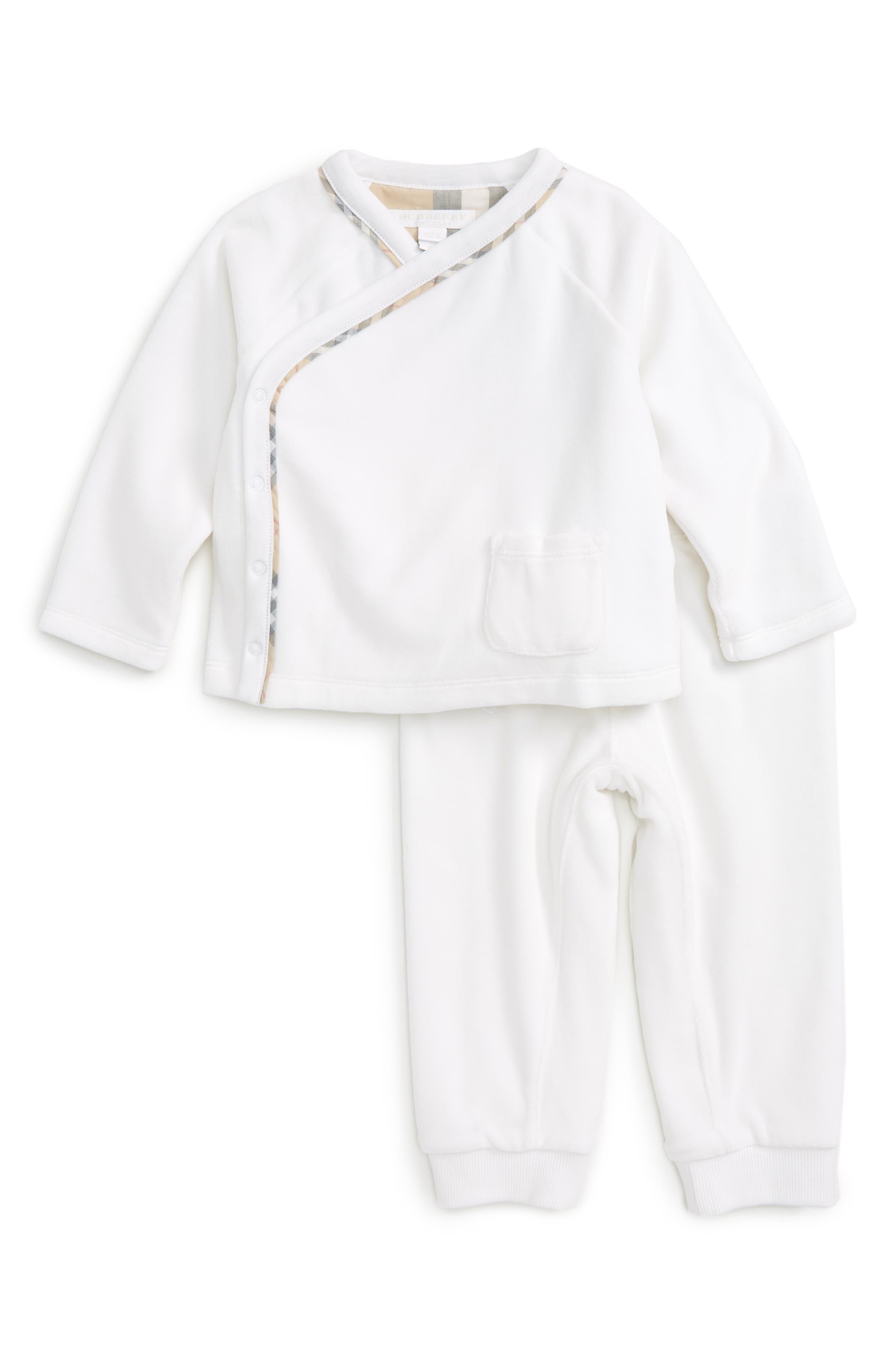 Main Image - Burberry Remy Shirt & Pants Set (Baby)