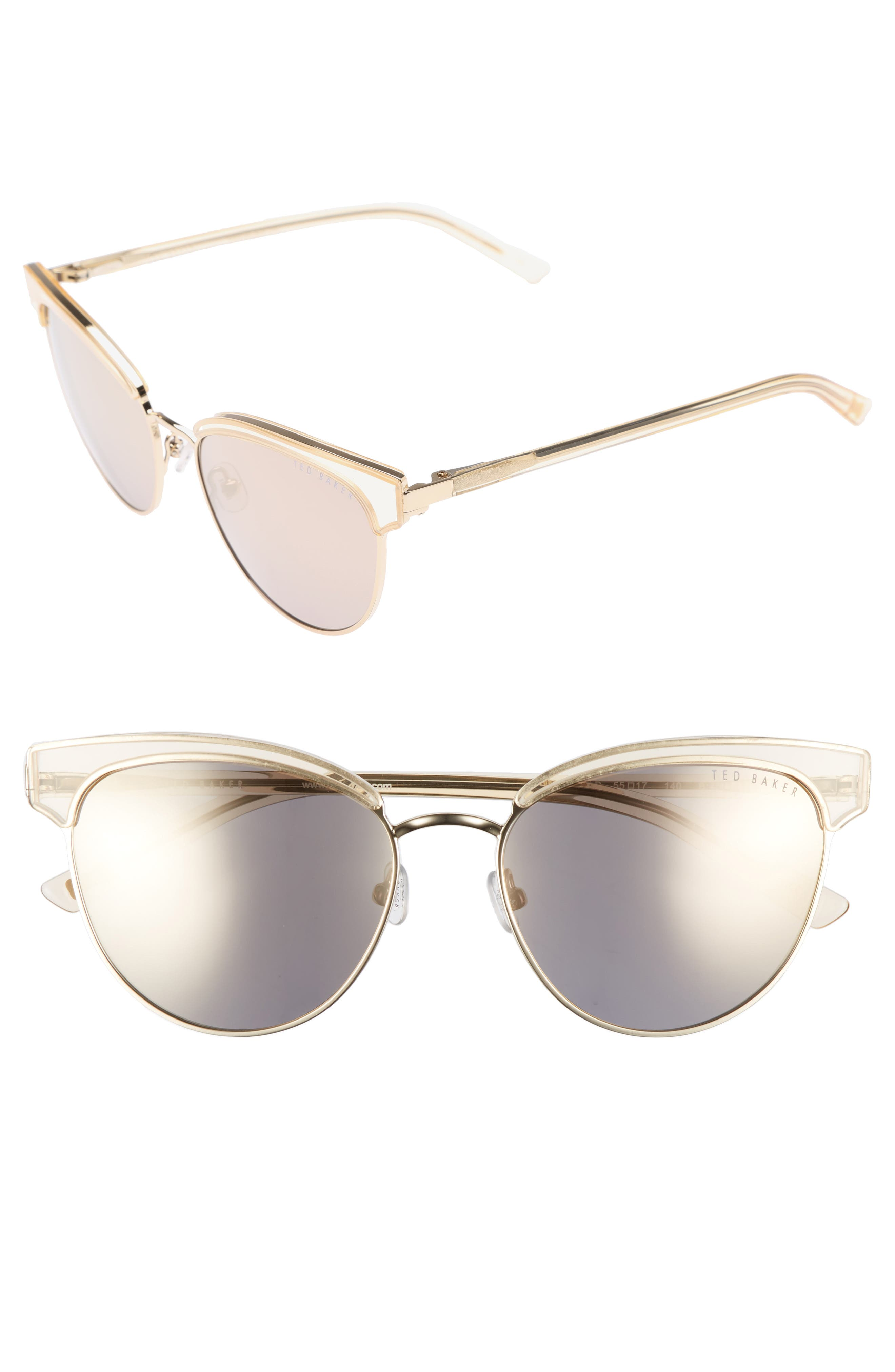 55mm Mirrored Semi Rimless Cat Eye Sunglasses,                         Main,                         color, Gold